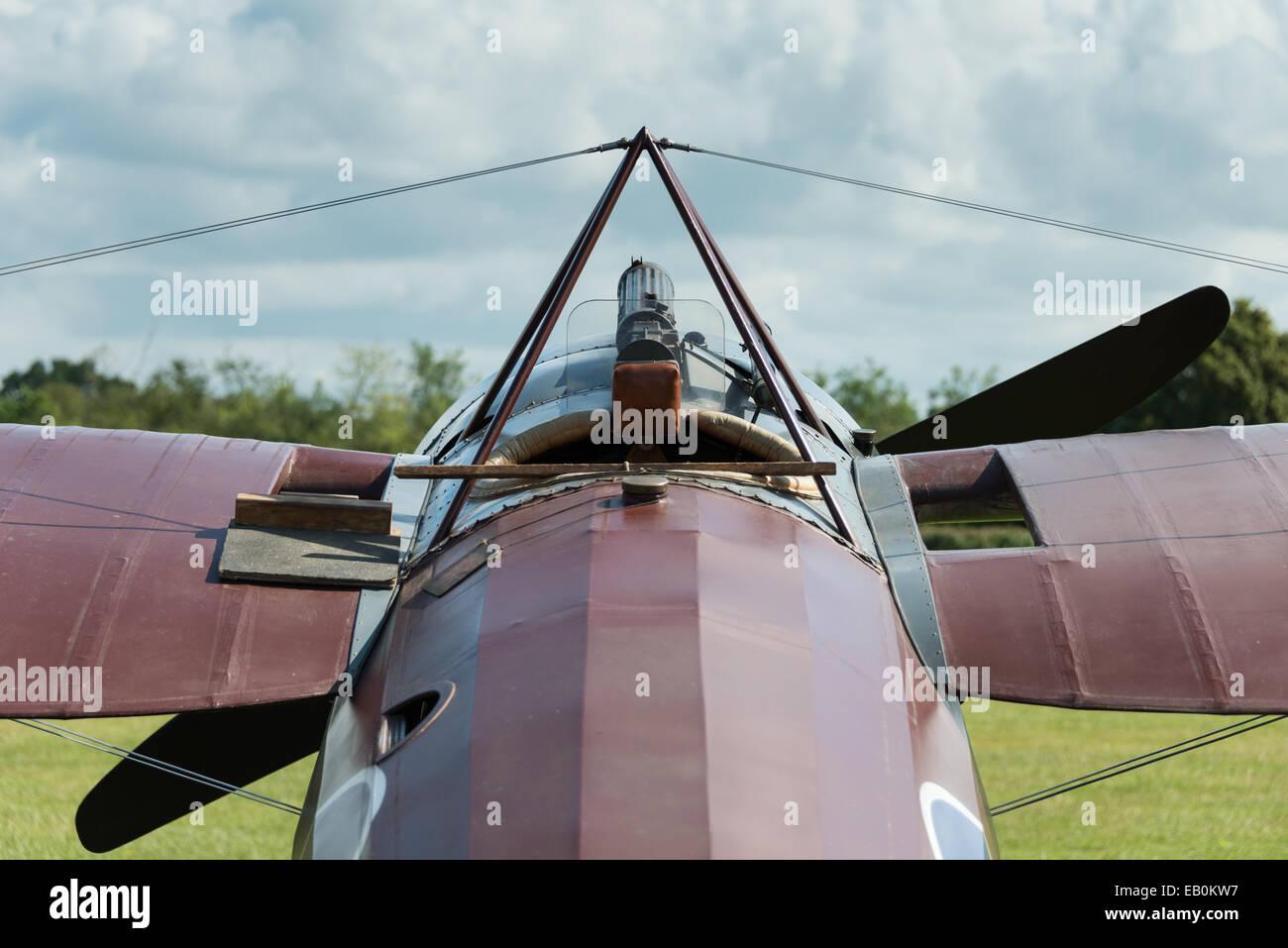 World War 1 fighter, forward  cockpit view - Stock Image