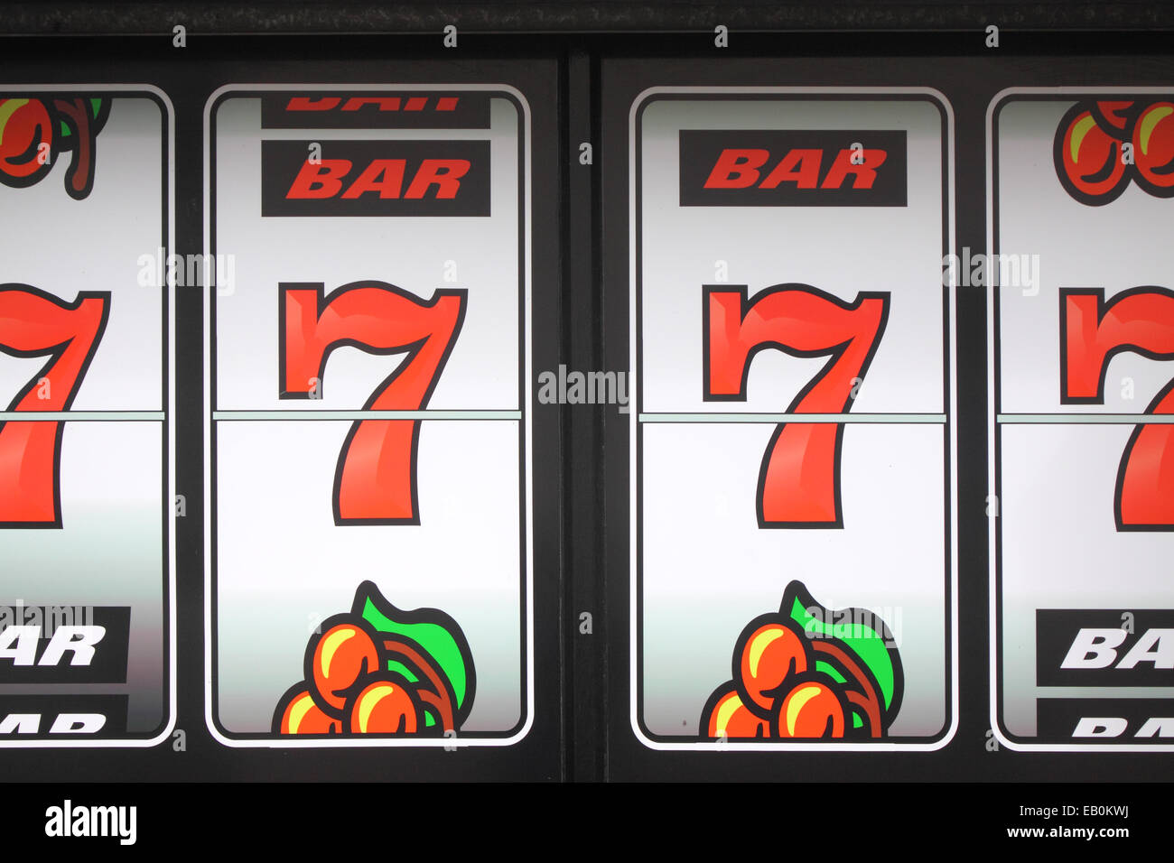 Graphic of a jackpot winning row of 7's on slot machine - Stock Image