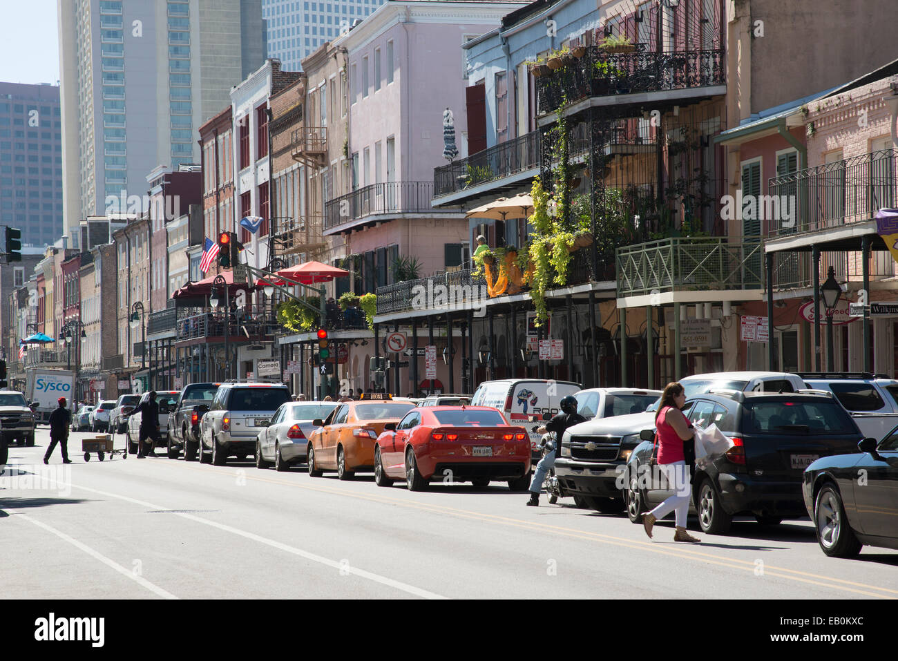 Famous Decatur Street in the French Quarter New Orleans USA - Stock Image