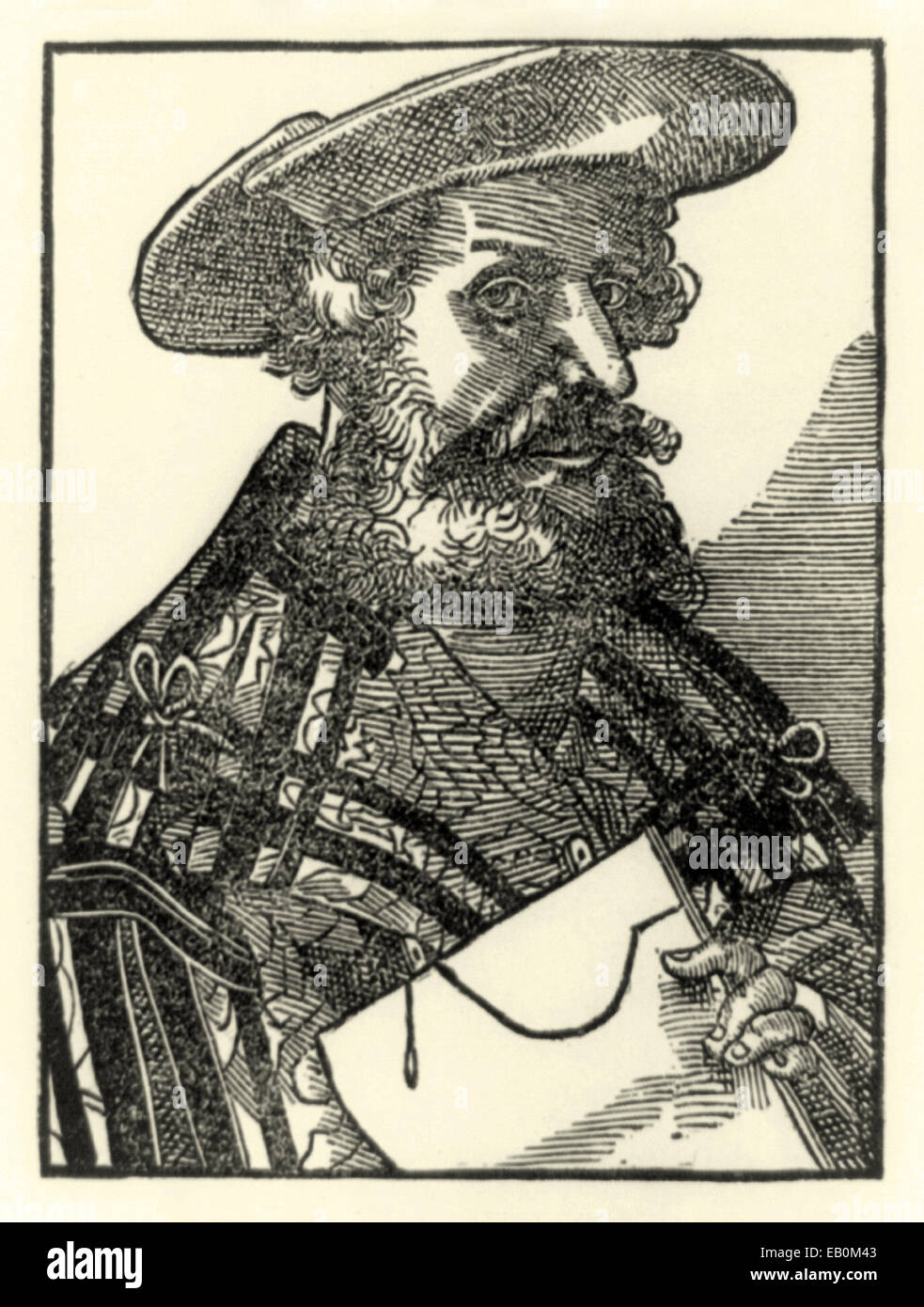 Woodcut portrait of Claudius Ptolemy  (90-168AD) published in 1587. See description for more information. - Stock Image