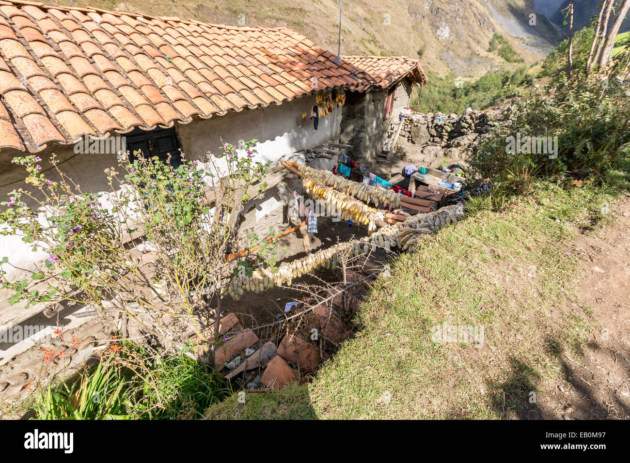 Peruvian house on Santa Cruz trek, Cordillera Blanca, Andes, Peru, South America - Stock Image