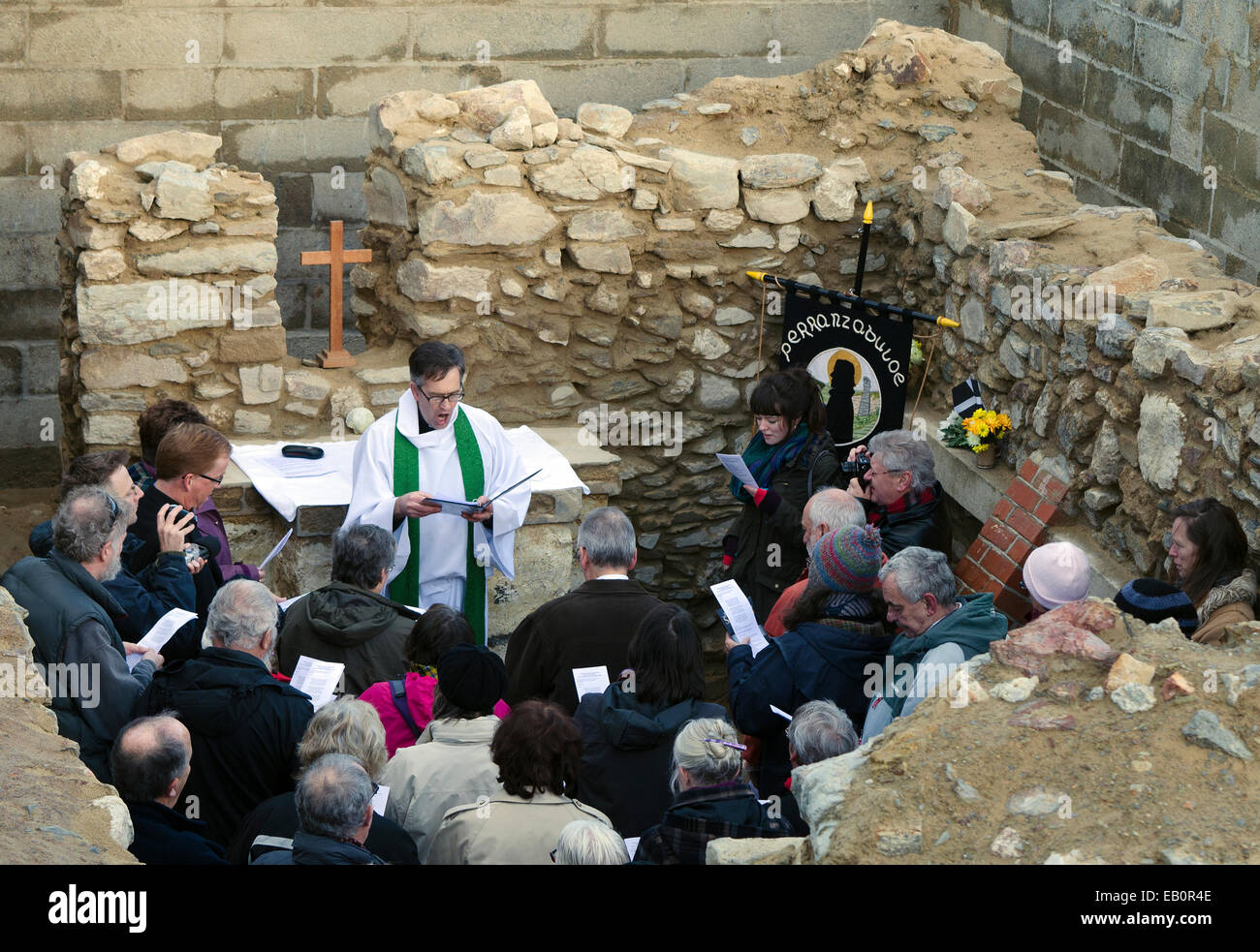Perranporth, Cornwall, UK, 23 November 2014, The first service for over 30 years was held today at the 6th Century Stock Photo