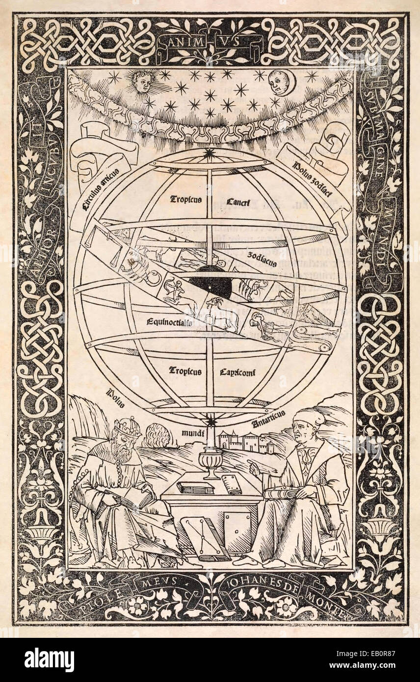 Frontispiece of Regiomontanus' Epitome of the Almagest depicting Ptolemy and Regiomontanus sitting beneath an - Stock Image