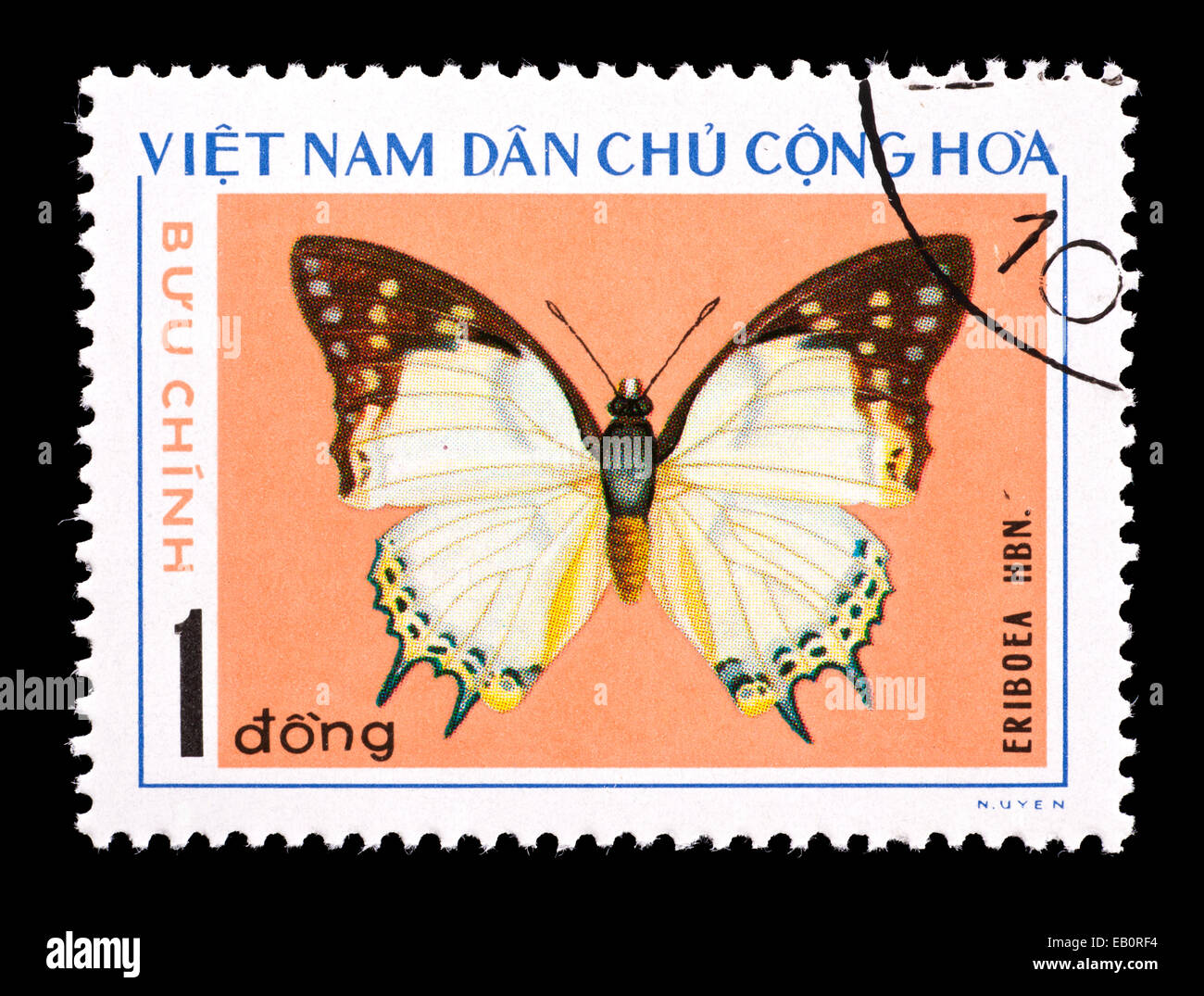 Postage Stamp From Vietnam Depicting An Eriboea Species Butterfly