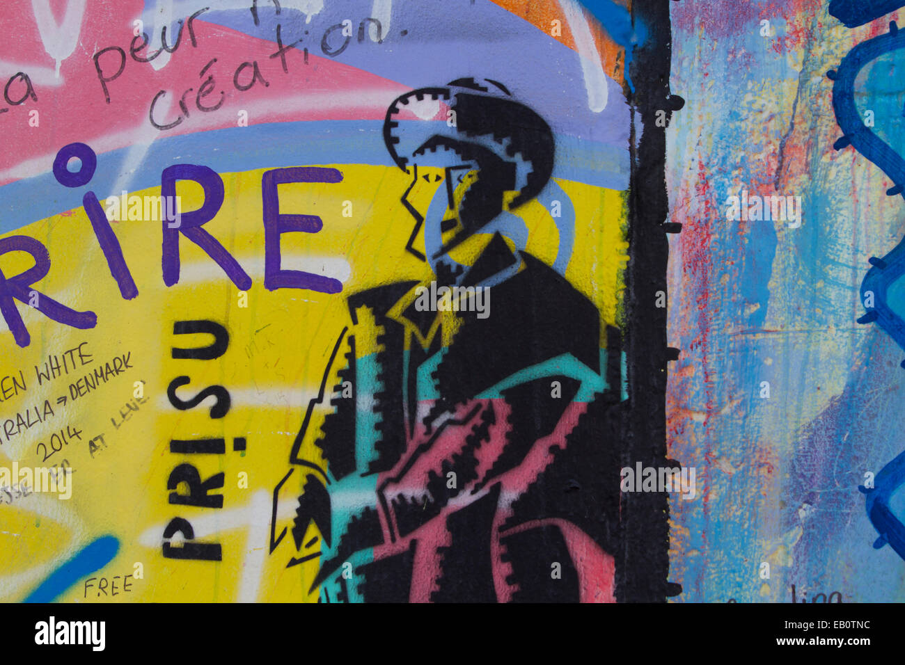 Berlin Wall Cartoon man agent Graffiti street art Stock Photo ...