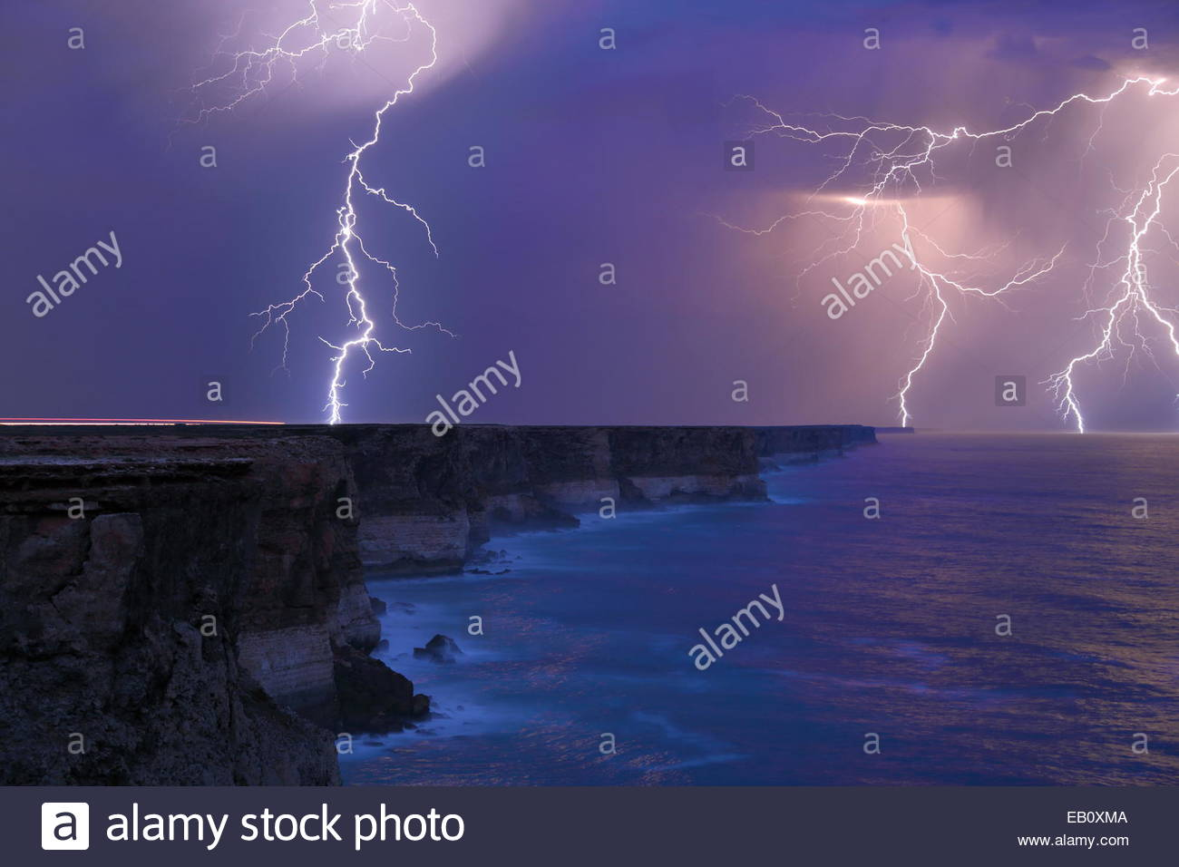 Lightning storm over the arid Nullarbor and the Great Australian Bight in South Australia. - Stock Image