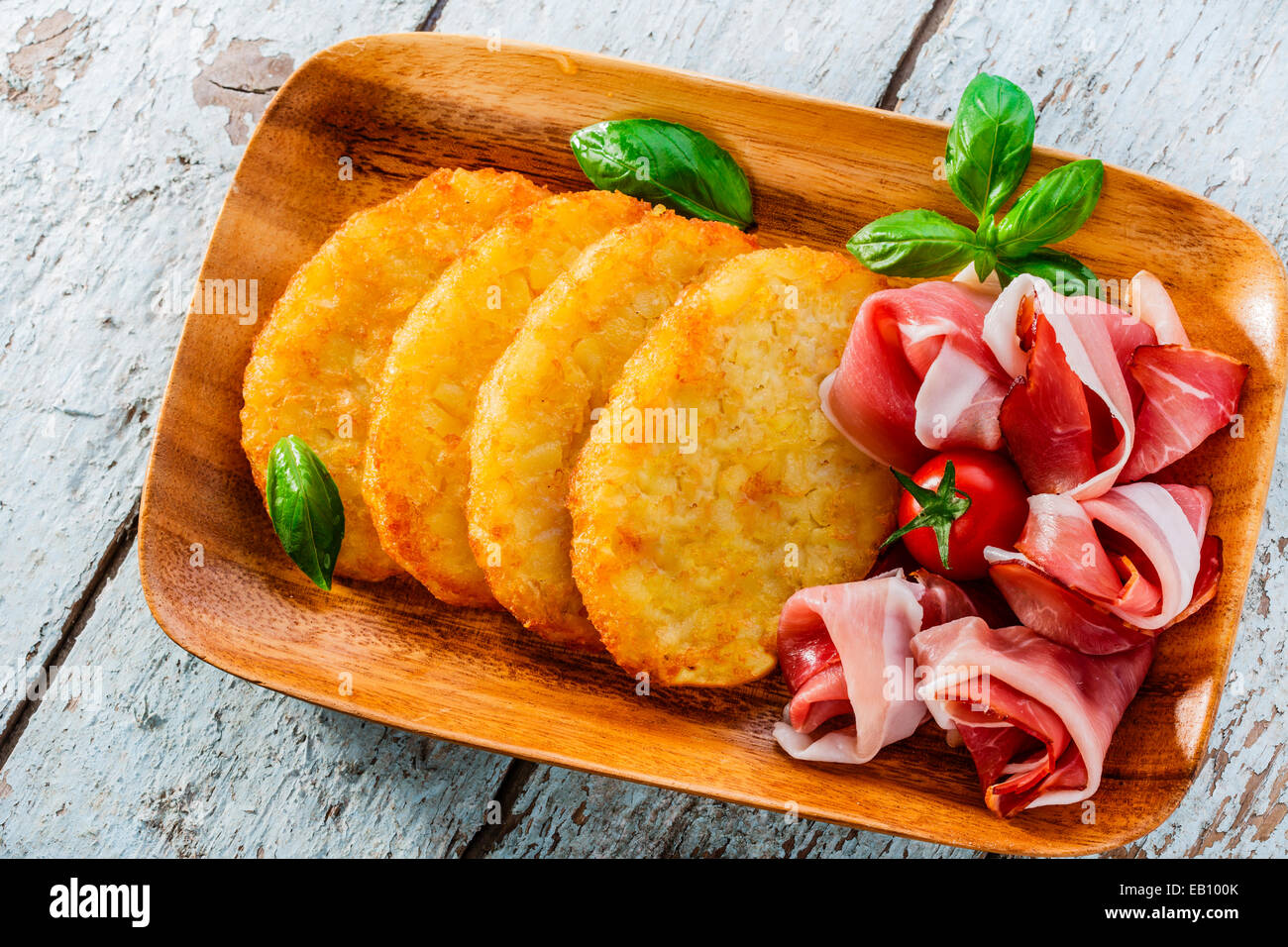 potato pancakes with pancetta prosciutto - Stock Image