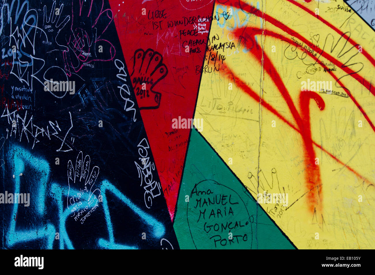 Graffiti triangle tags street art Berlin wall urban Stock Photo ...