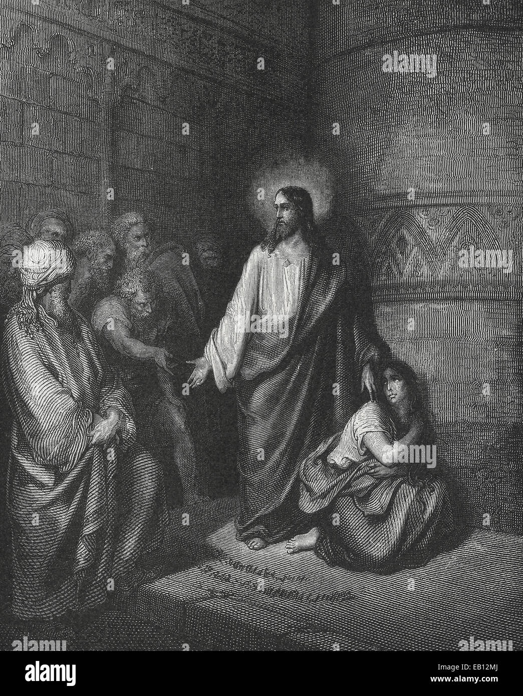 Jesus with the woman caught in adultery - Stock Image