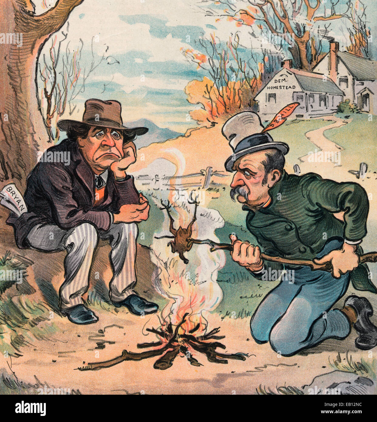 Thanksgiving Festivities - Dismal Dave and Weary William join in celebrating. Illustration shows William Jennings - Stock Image