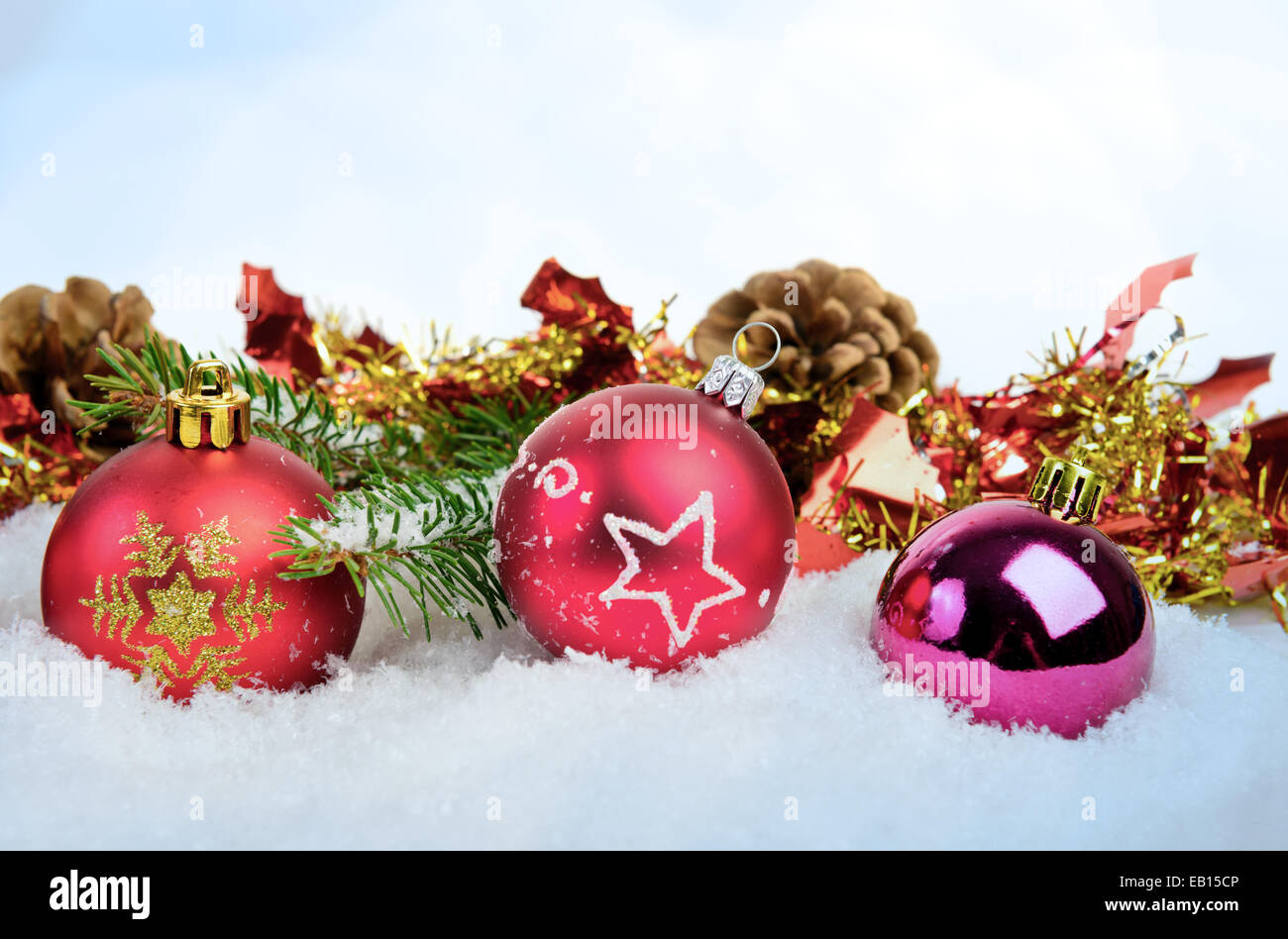 Christmas background with balls fir and cones - Stock Image
