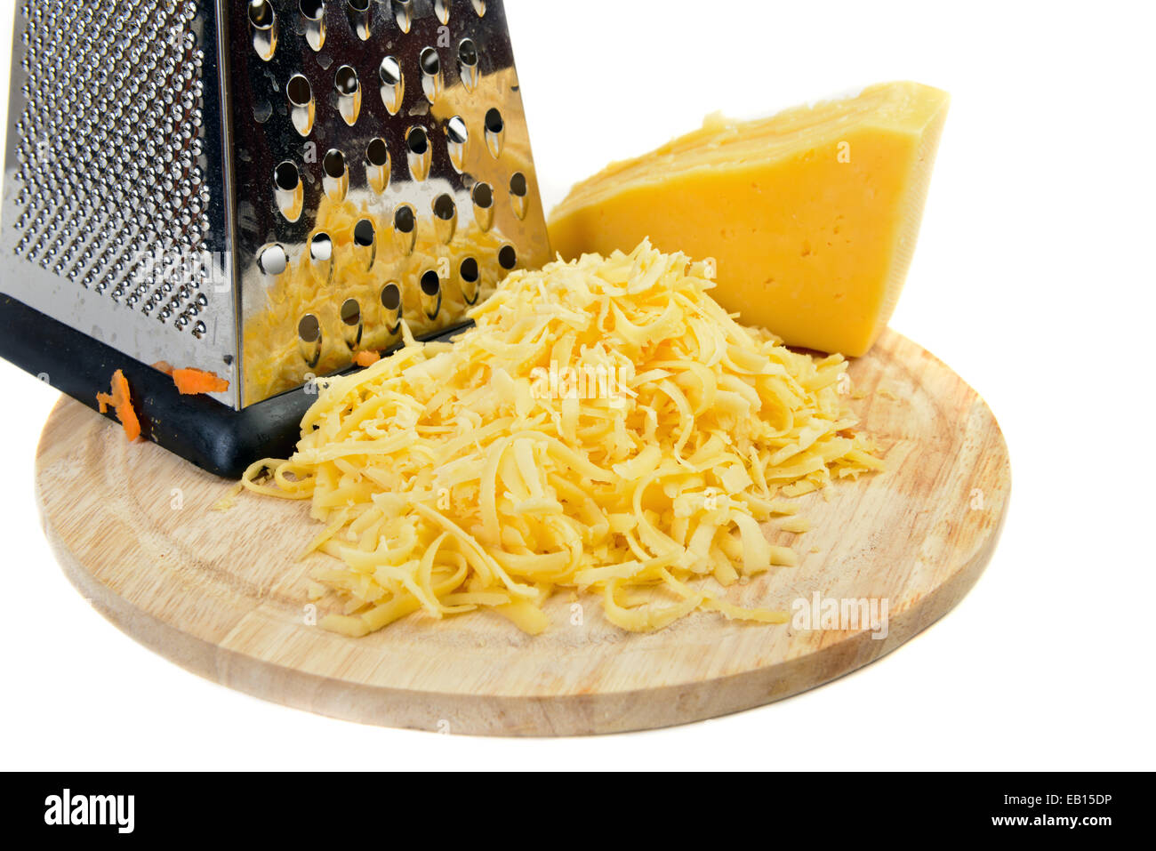 grated cheese  ingredient on white - Stock Image