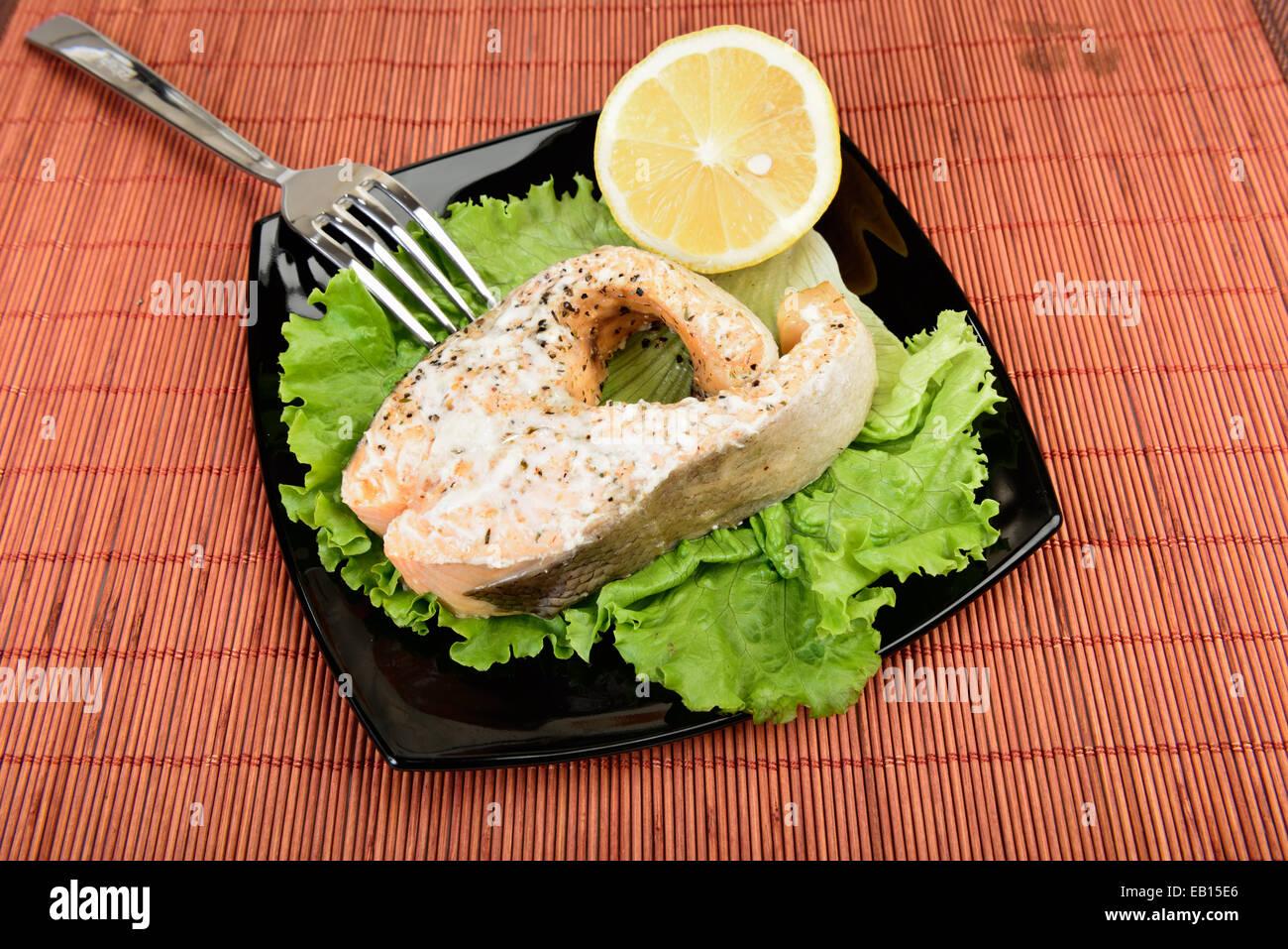 Salmon Steak ready to eat - Stock Image