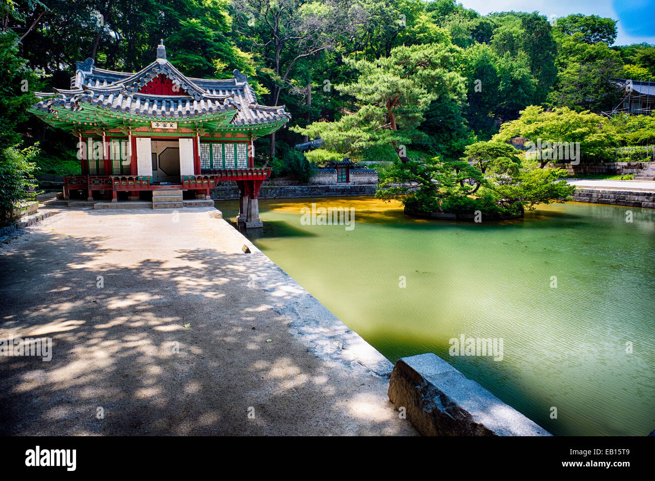 Buyongjeong Pavilion with a Pond, Huwon Area, Secret Garden, Changdeokgung Palace Complex, Seoul, South Korea - Stock Image
