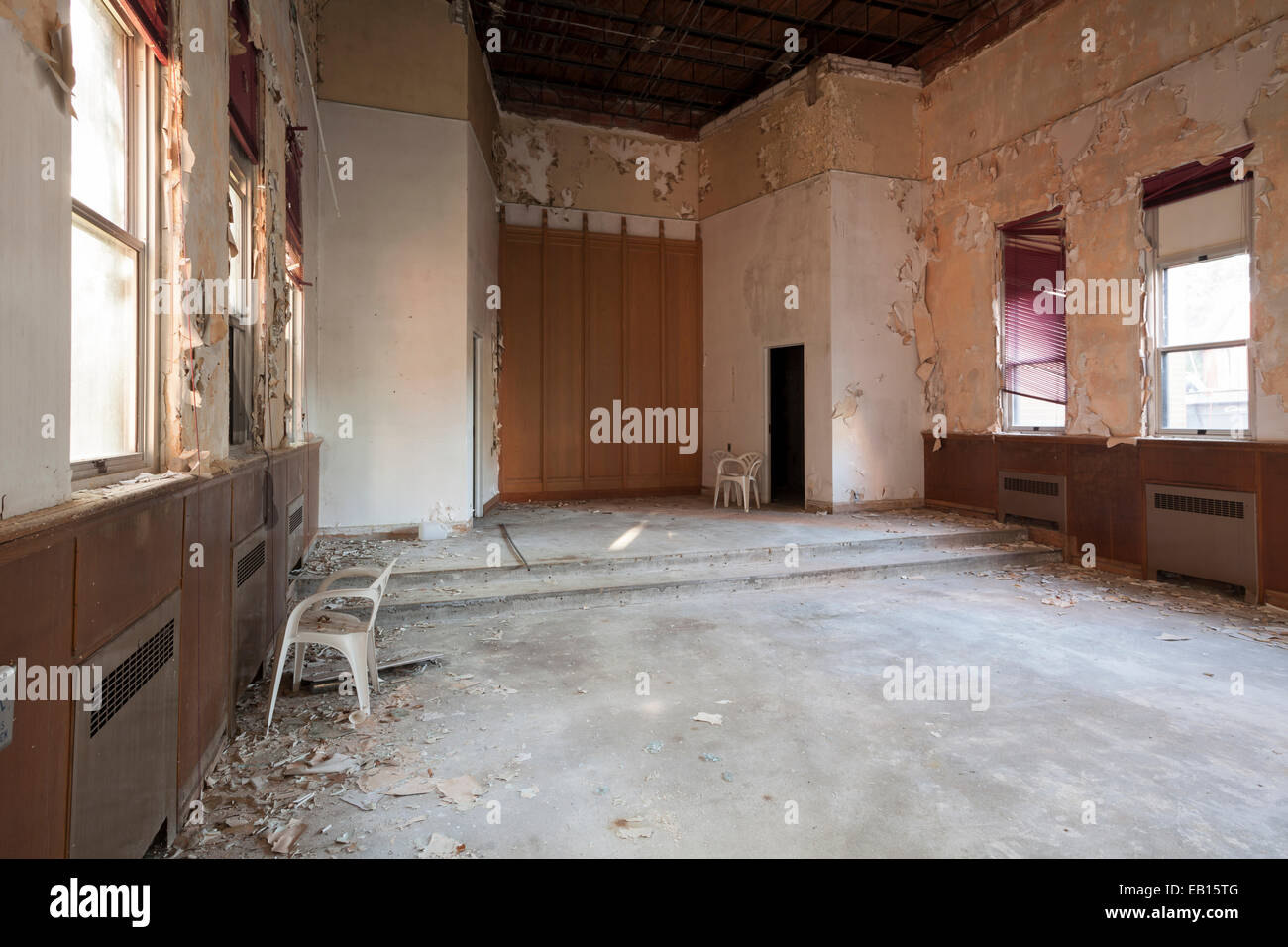 An empty church room in an abandoned hospital. Ontario, Canada. - Stock Image
