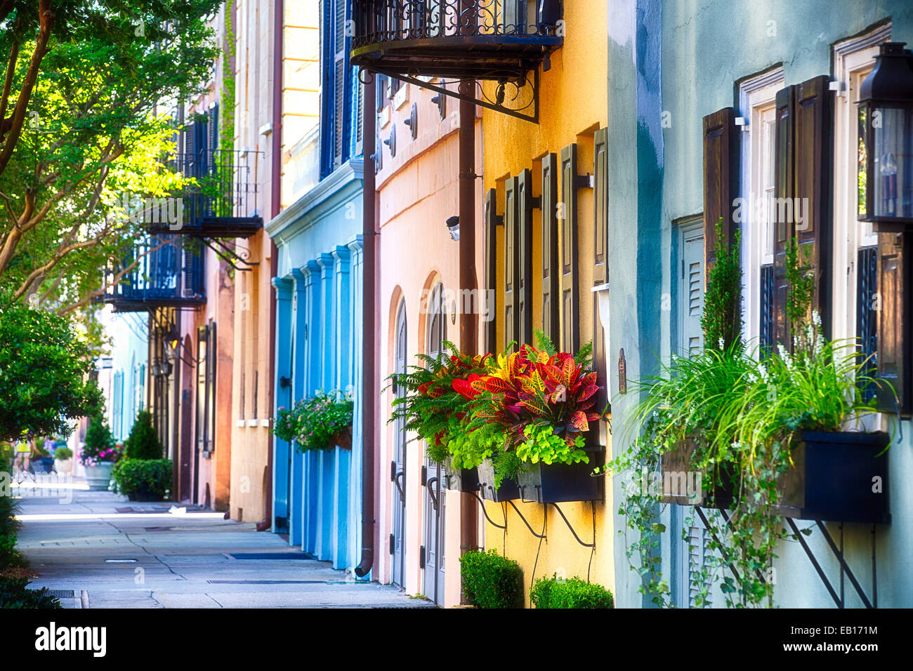 Row of Colorful Historic Houses, Rainbow Row, East Bay