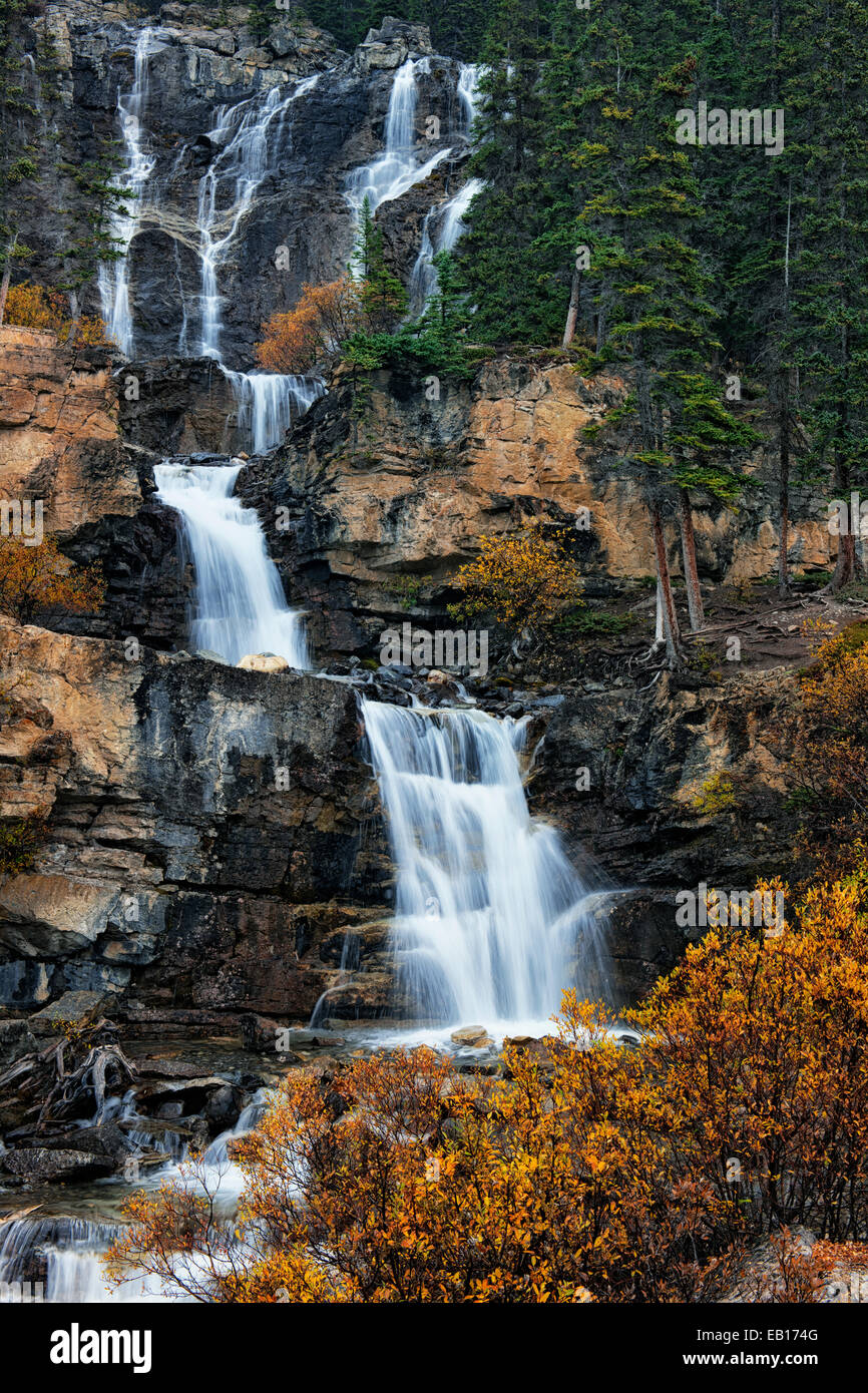 Tangle Creek Falls pours 114 feet over multi tiered limestone steps in Alberta's Canadian Rockies and Jasper National - Stock Image