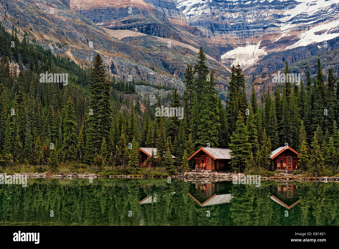 Cabins at Lake O'Hara in British Columbia's Canadian Rockies and Yoho National Park. - Stock Image