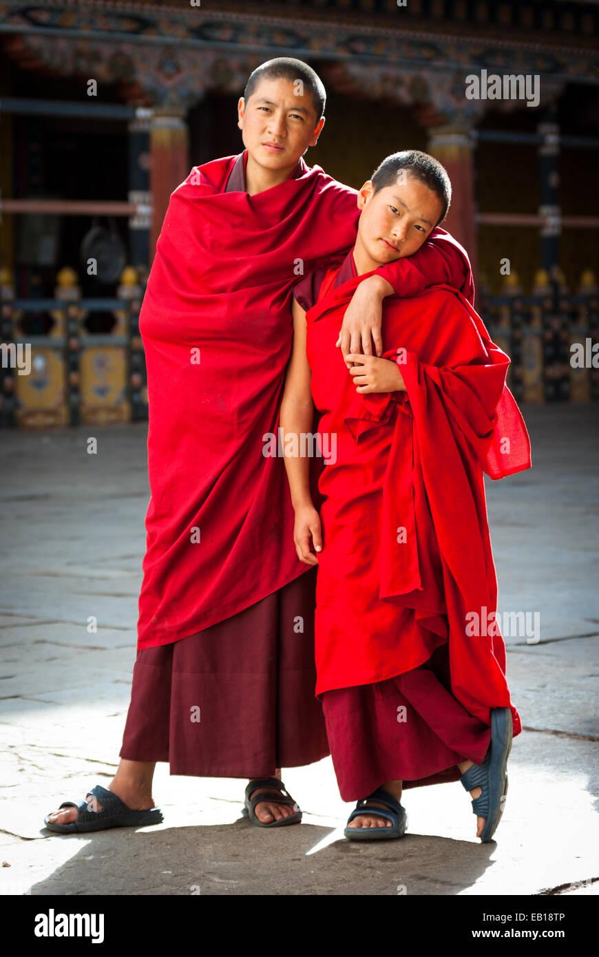 Young Bhutanese Buddhist monks at Paro Dzong, Bhutan Stock Photo