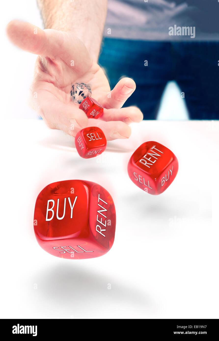 Buy vs Rent indecision, risk concept. - Stock Image