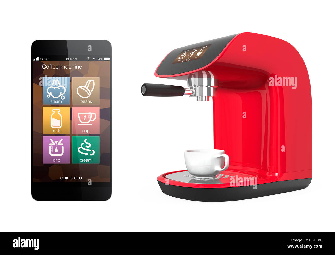 Stylish coffee machines with touch screen. control by smartphone. Stock Photo