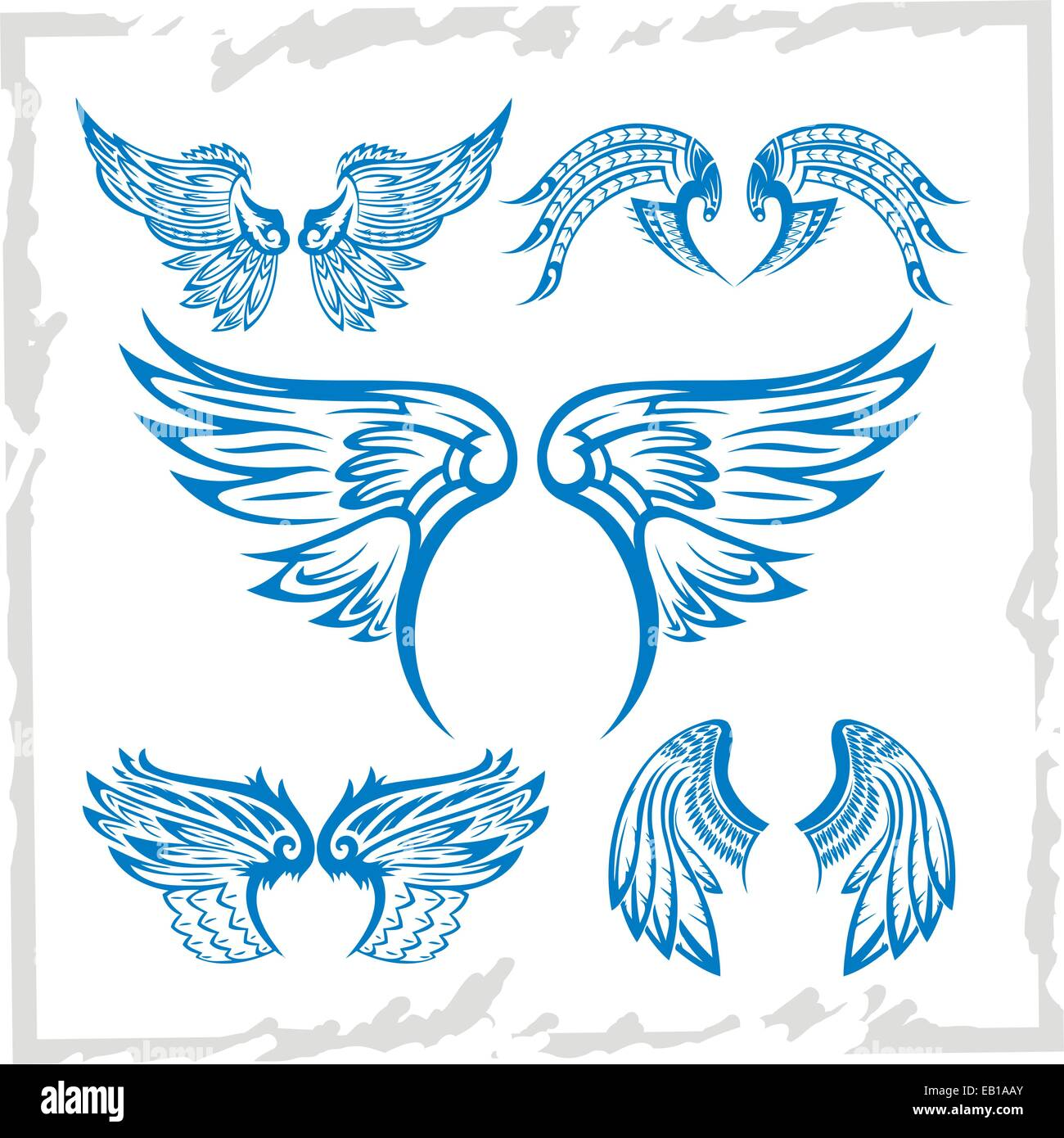 Vector Wings Set. Vinyl-ready illustration. - Stock Image