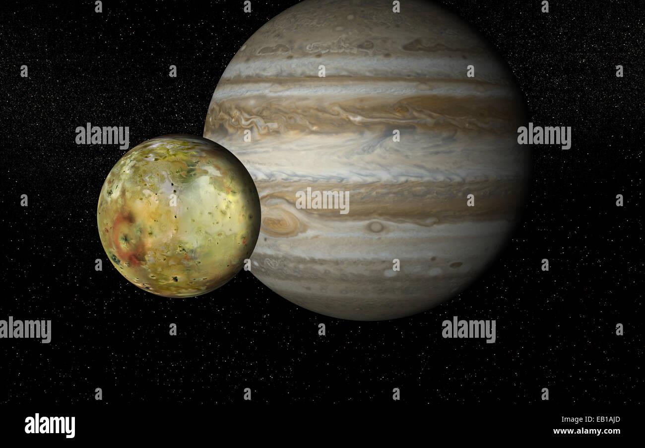 Jupiter and it moon Io - Stock Image