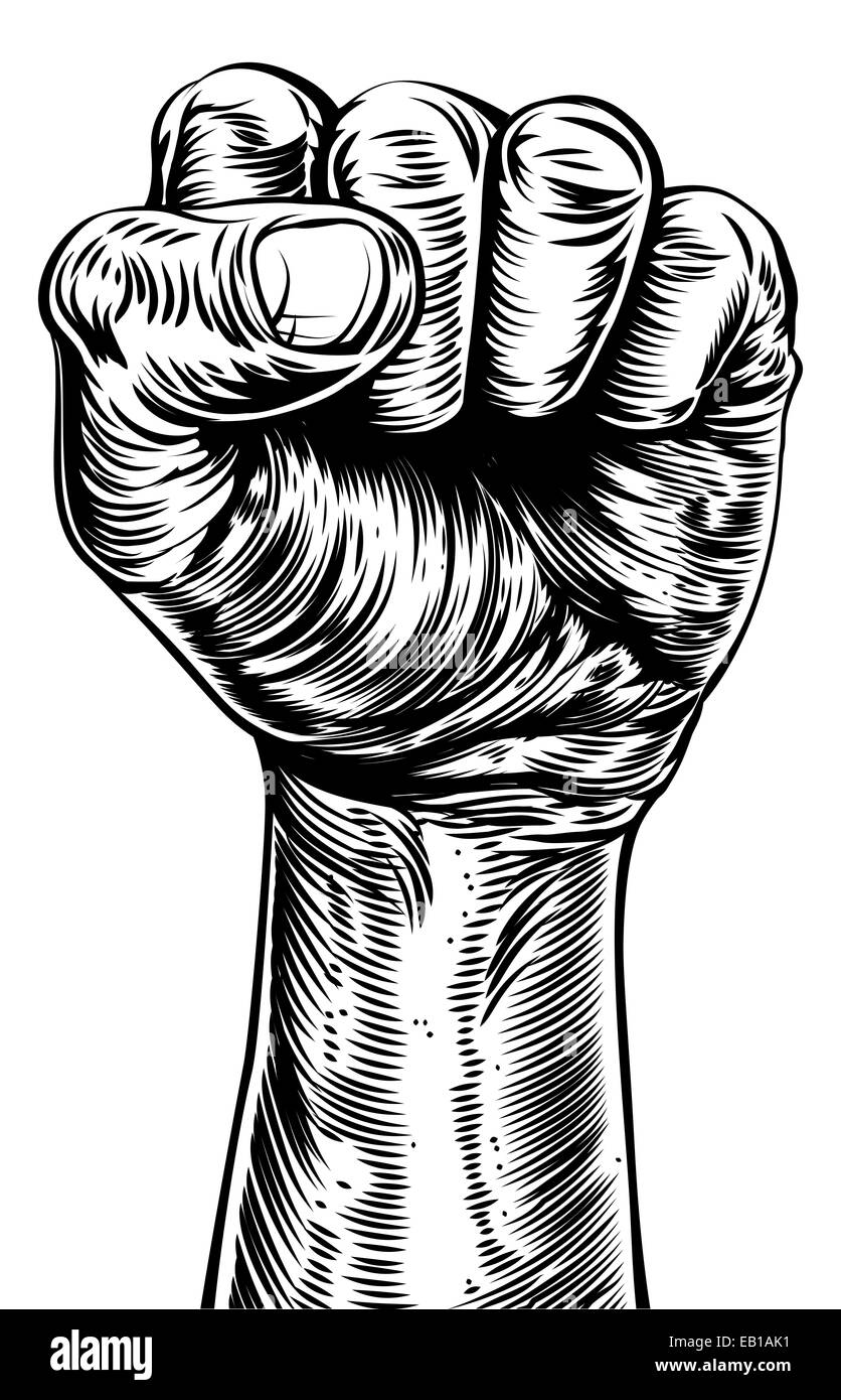 An original illustration of a a fist in a vintage style like on a propaganda poster or similar - Stock Image