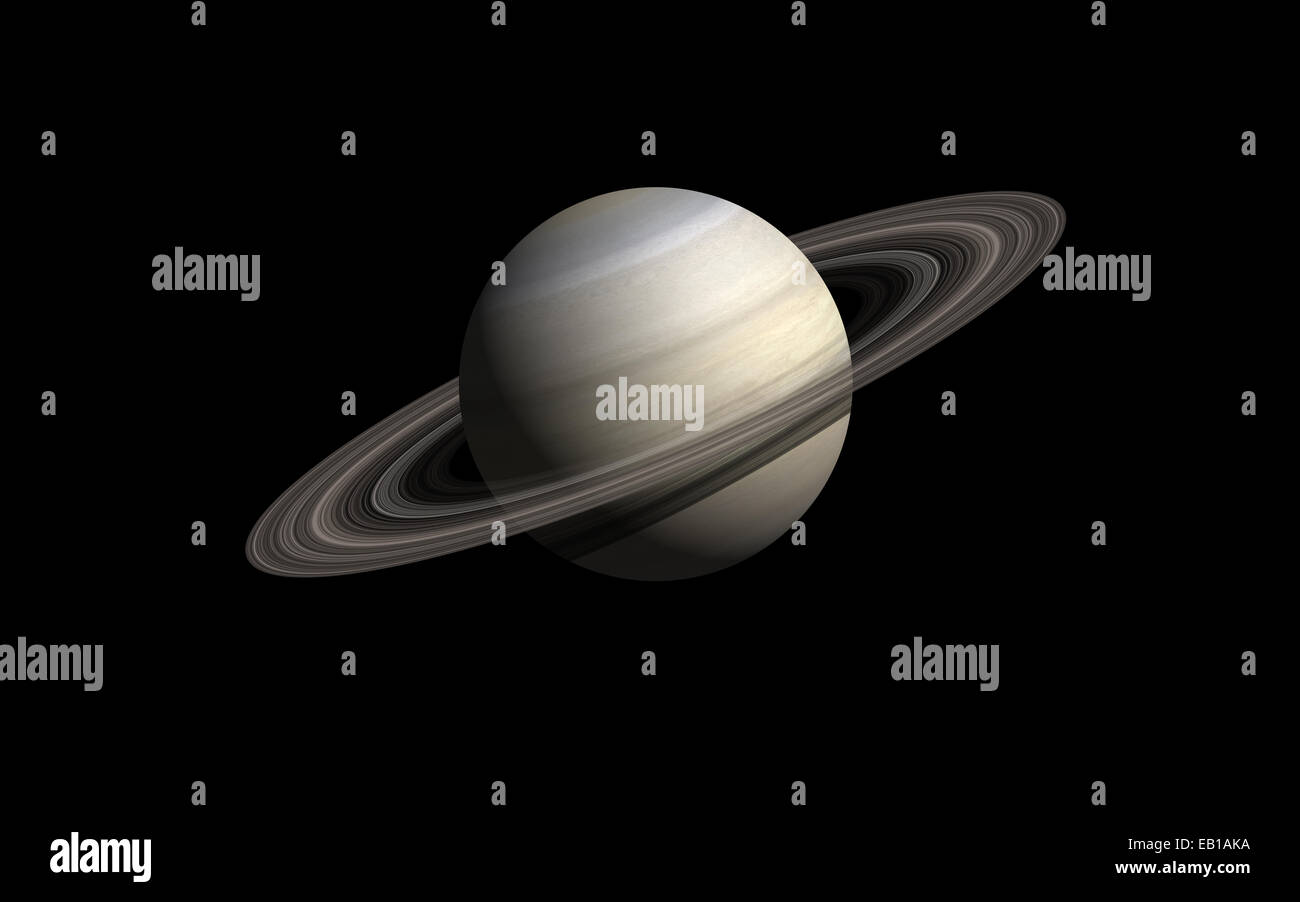 saturn planet isolated in black - Stock Image