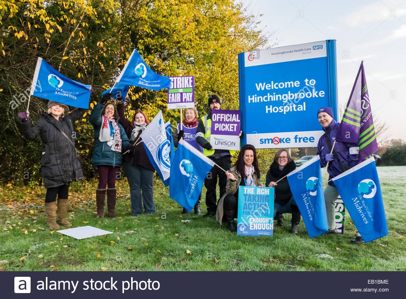 Huntingdon, UK. 24th November, 2014. NHS Workers at a picket line outside Hinchingbrooke Hospital, Huntingdon, England, - Stock Image