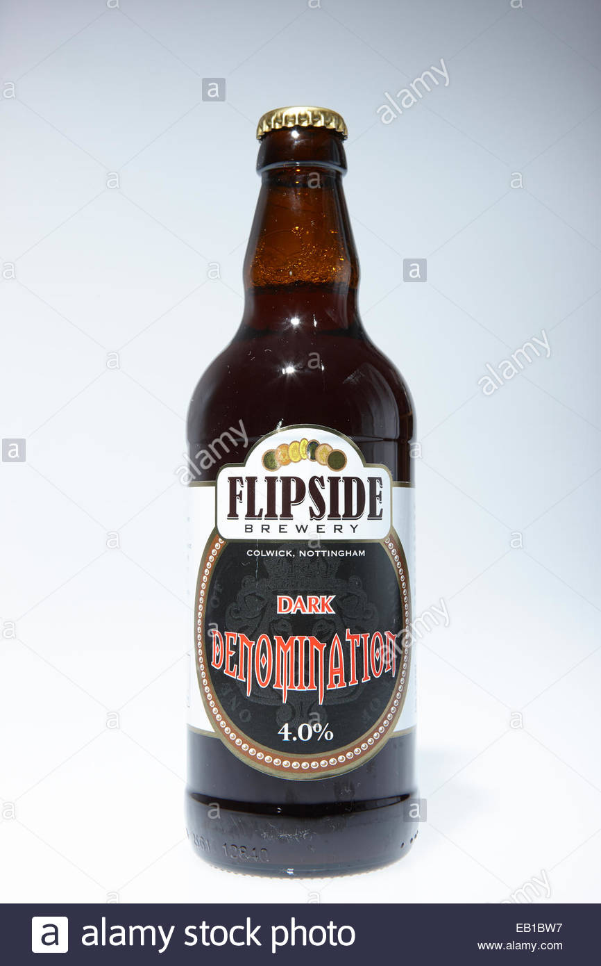 Flipside Brewery Bottles of dark beer, Dark Denomination - Stock Image