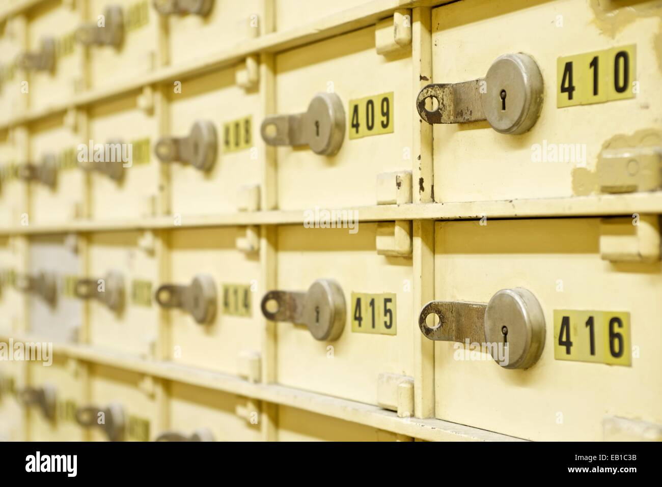 Closeup of a group of cells in an old safe bank. - Stock Image