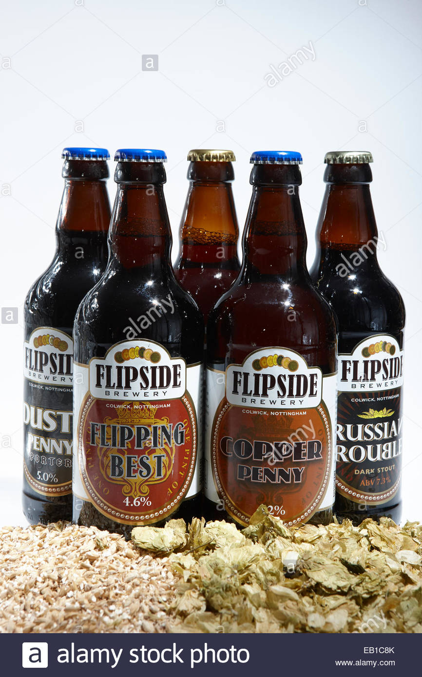 Flipside Brewery fibe bottles of brown, bitter, dark beer, porter and stout with hops and barley malt ingredients - Stock Image