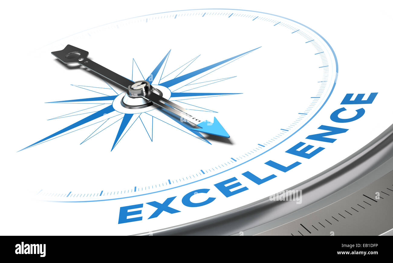 Excellence background concept. Compass needle pointing a blue word, decorative image suitable for left bottom angle - Stock Image
