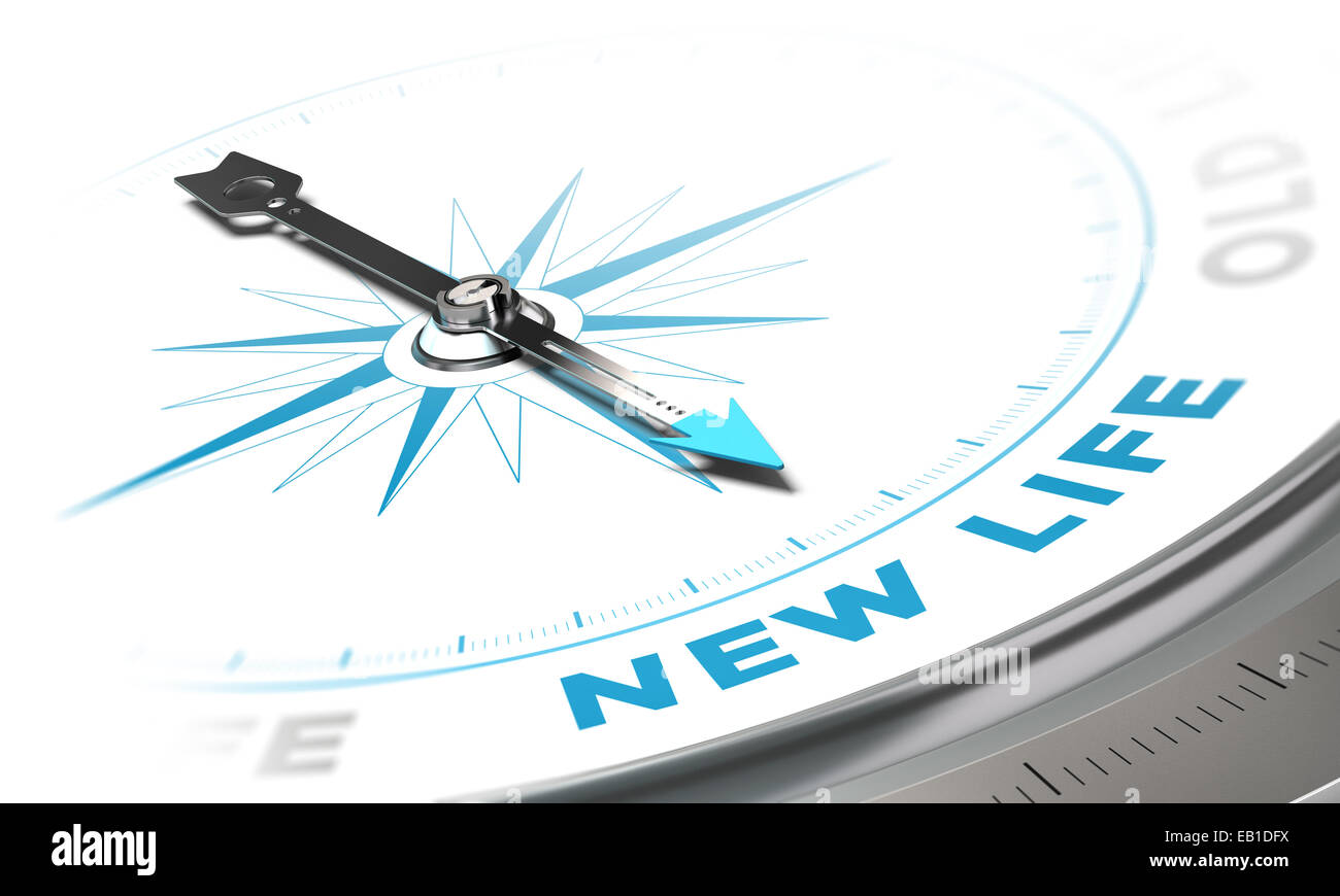 New life background concept. Compass needle pointing a blue word, decorative image suitable for left bottom angle - Stock Image