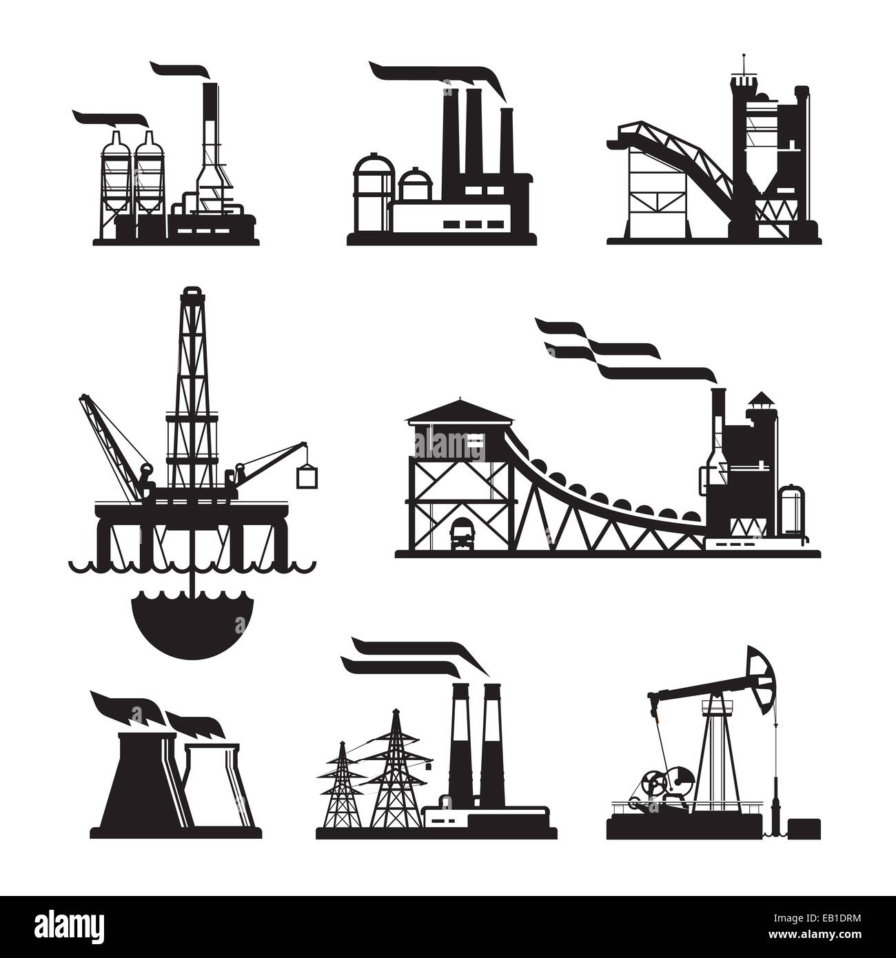 vector black factory icons set on gray. Factory, power plants and industrial buildings - Stock Image