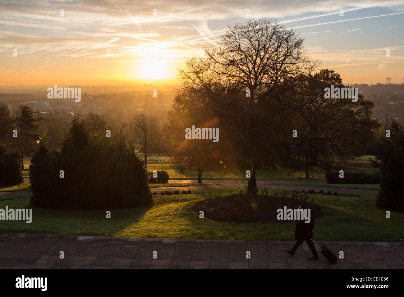 Alexandra Palace Park, London UK, 24th November 2014. The view into central London from Alexandra Palace Park as - Stock Image