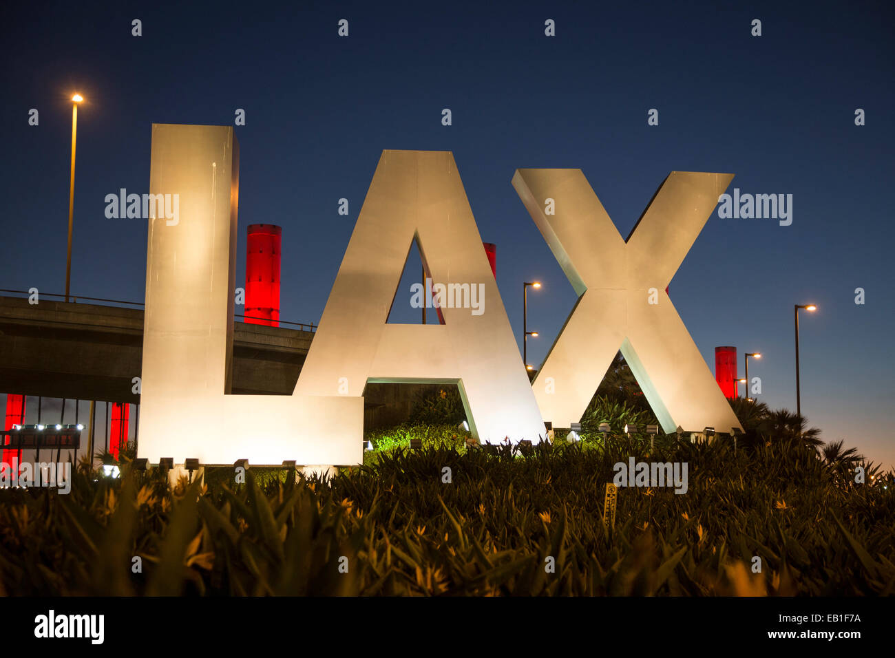 LAX sign at the Century Boulevard entrance to Los Angeles International Airport - Stock Image