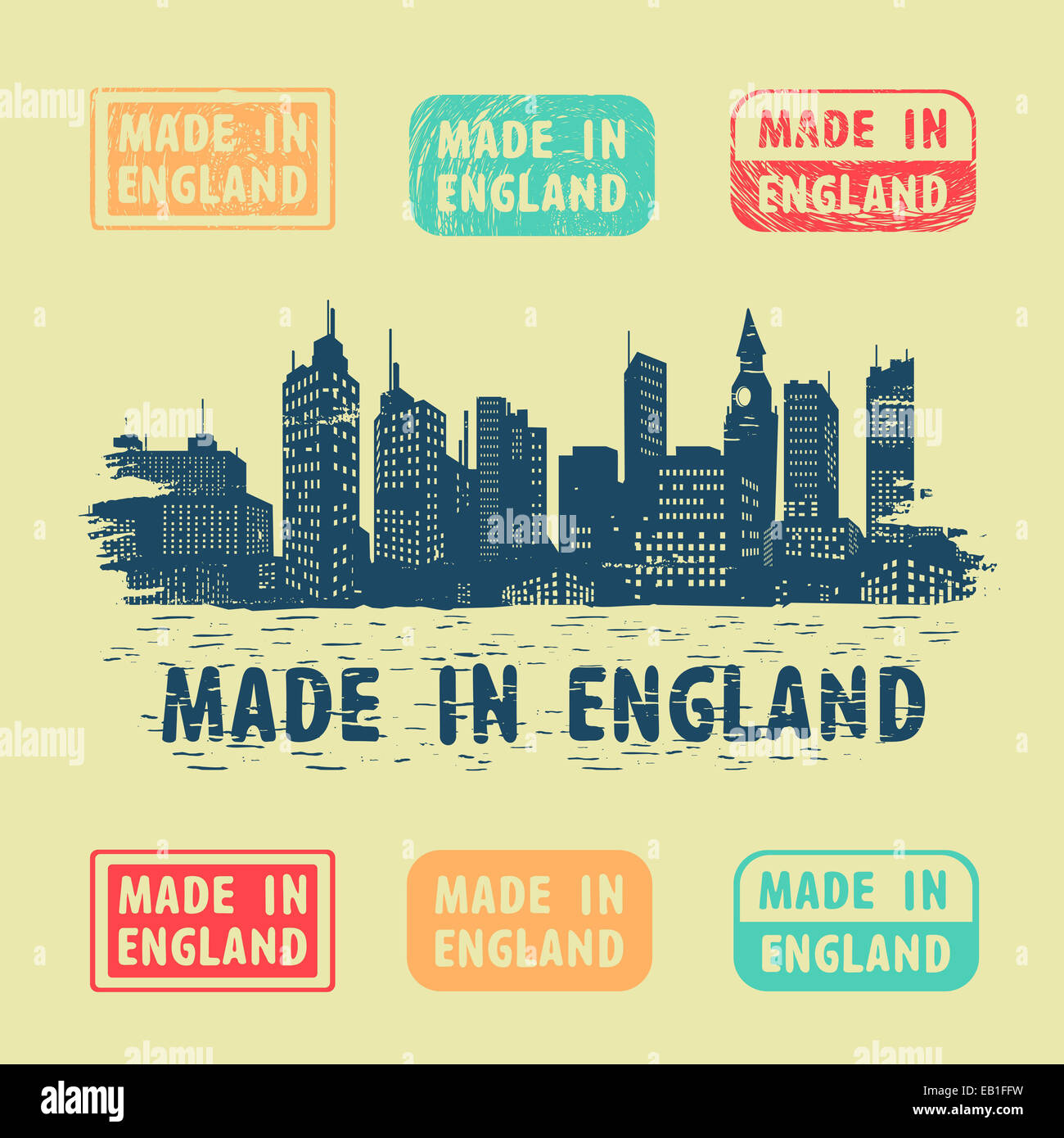 Label Made in England - Stock Image
