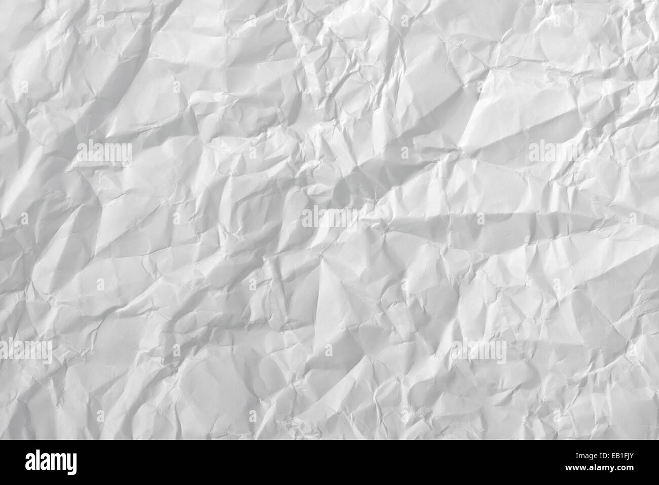 White crumpled creased paper texture for background - Stock Image