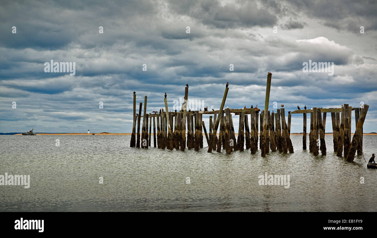 Derelict jetty in Provincetown, Massachusetts. - Stock Image