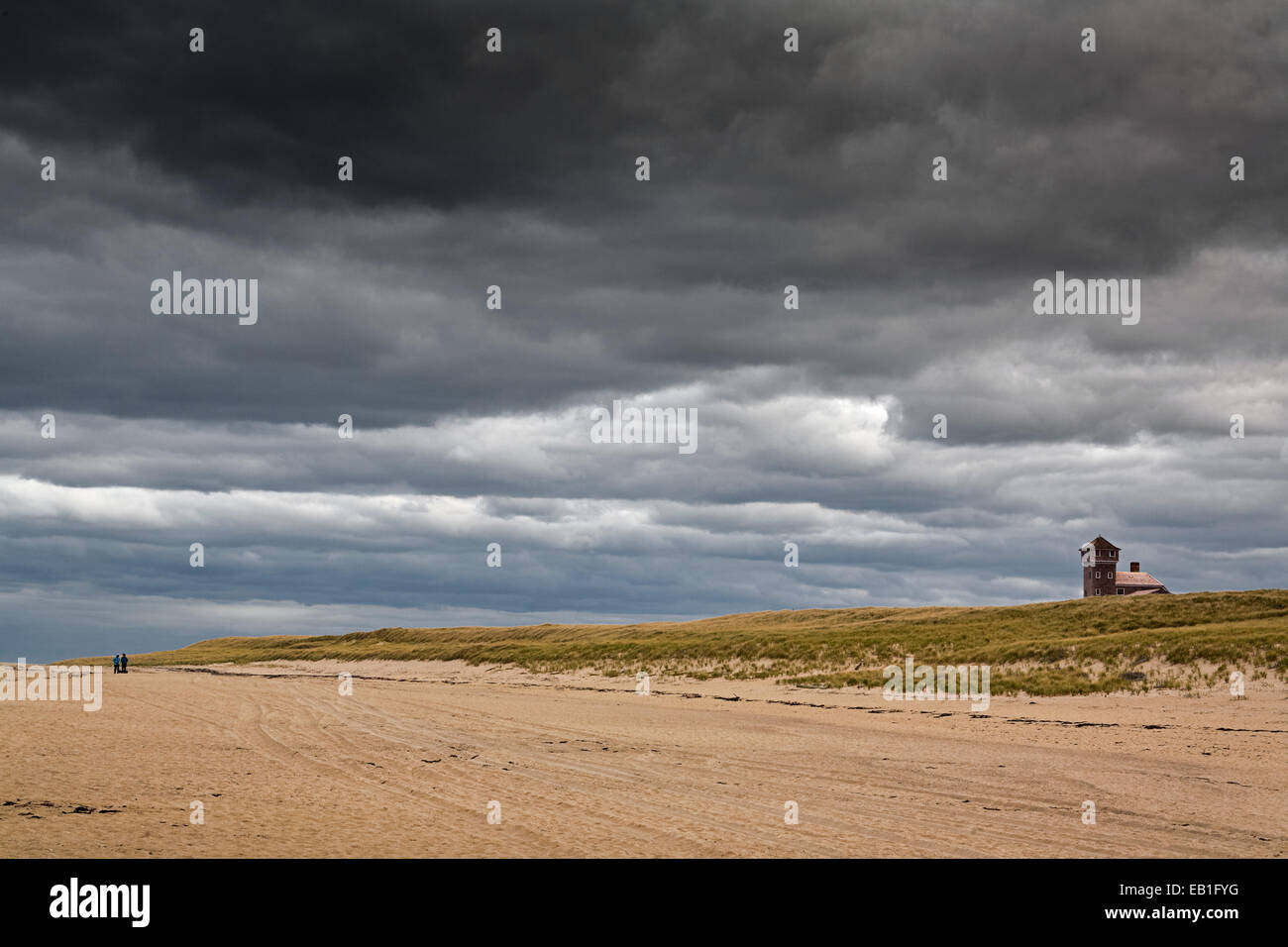 Moody sky over a Cape Cod beach, Massachusetts. - Stock Image