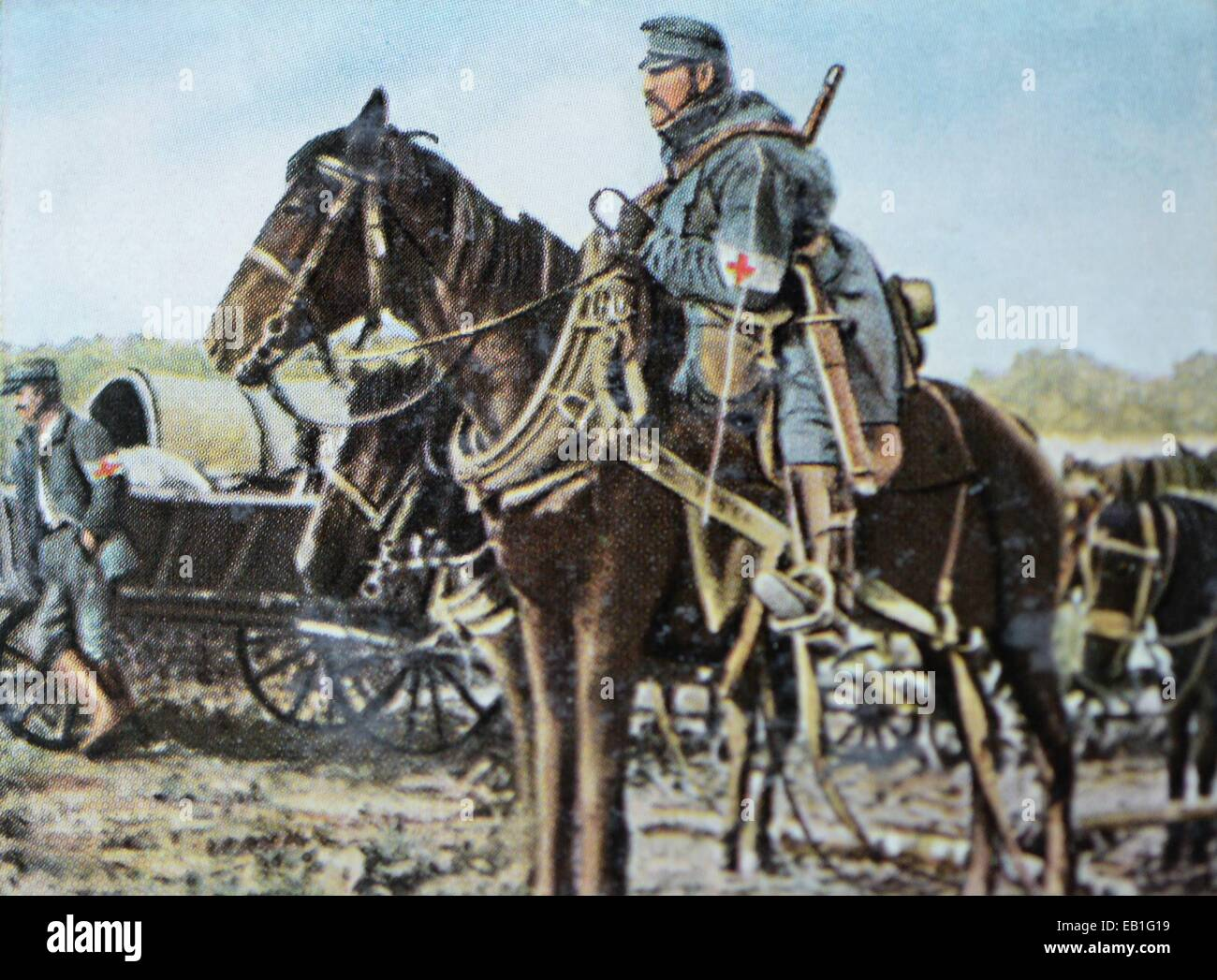 The contemporary colorized German propaganda photo shows Austrian army medics on the way to the Eastern Front to Stock Photo