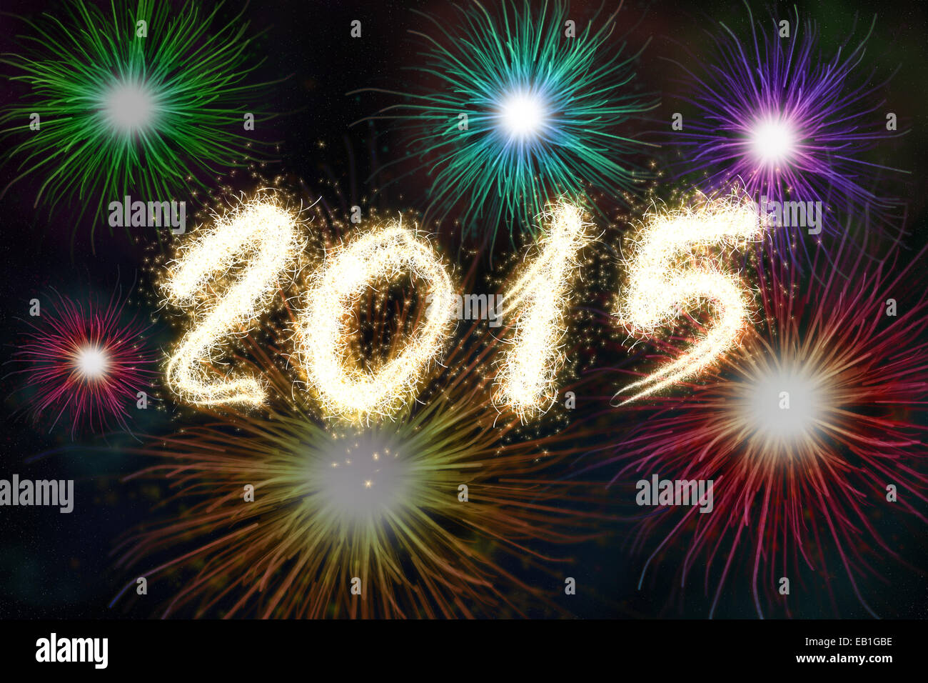New years eve greeting card stock photos new years eve greeting new years eve greeting card with fireworks and text 2015 stock image m4hsunfo