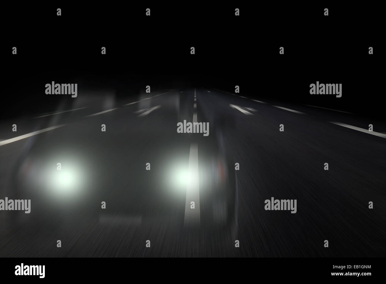 wrong-way driver on highway gy night - Stock Image