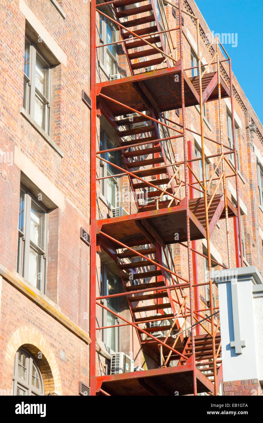 External Fire Escape Staircase On The Side Of A Building In Launceston  Tasmania