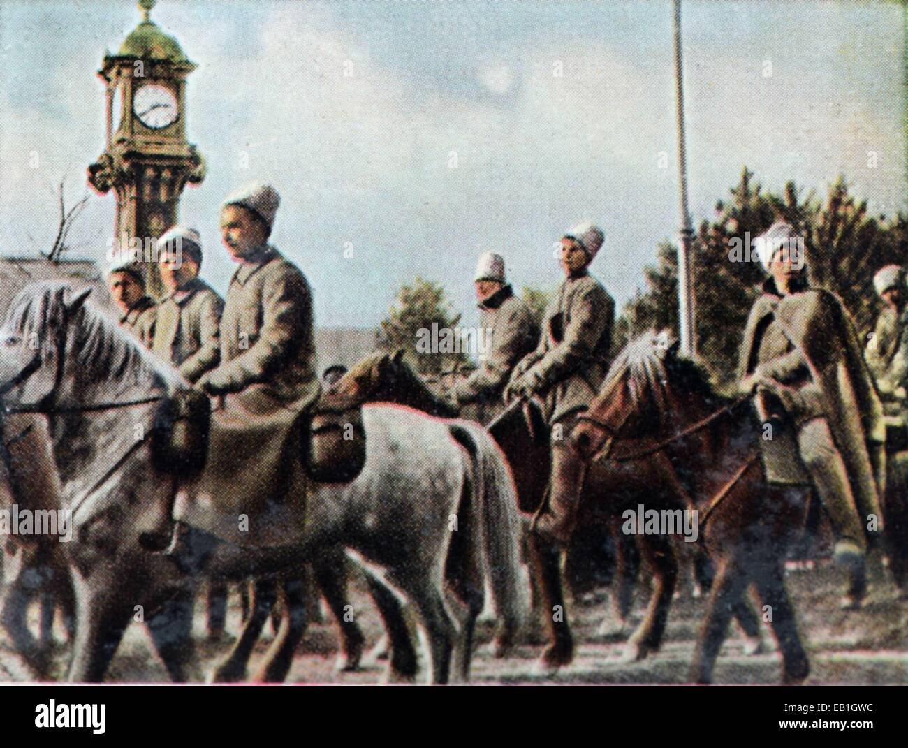 The contemporary colorized German propaganda photo shows Russian cavalry in 1918. Photo: Neumann Archive - NO WIRE - Stock Image