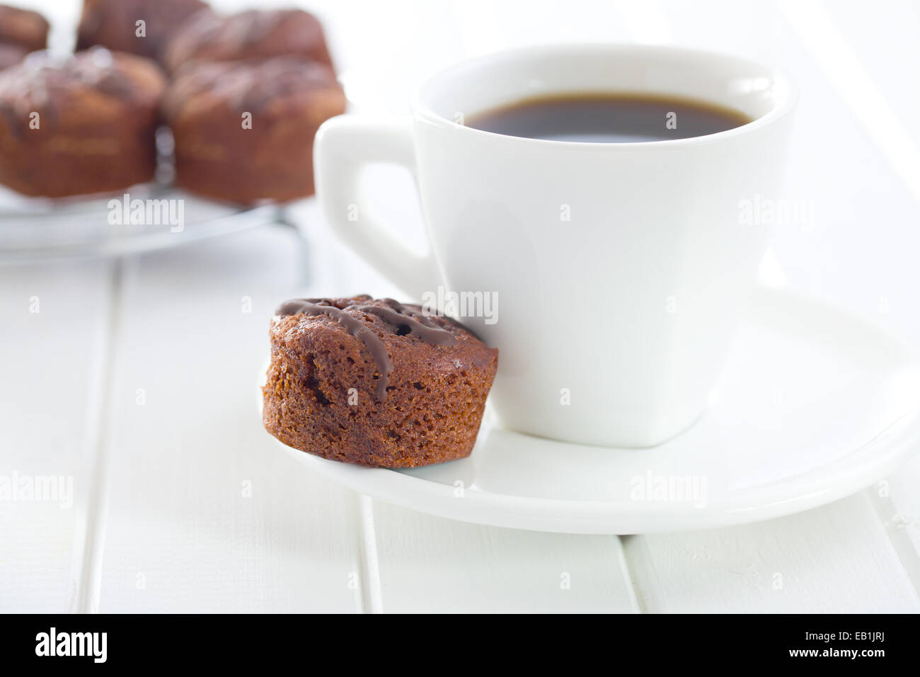 the sweet dessert with chocolate and fruity jam - Stock Image