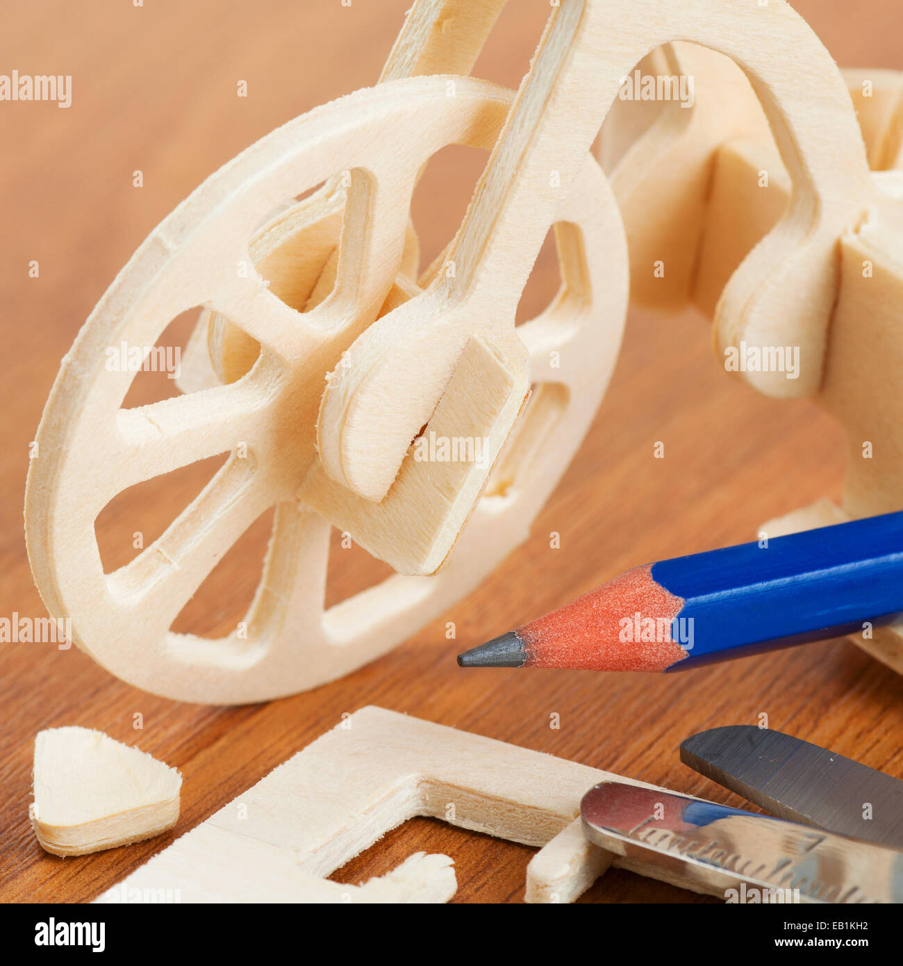 wooden bicycle toy - woodcraft construction kit - Stock Image