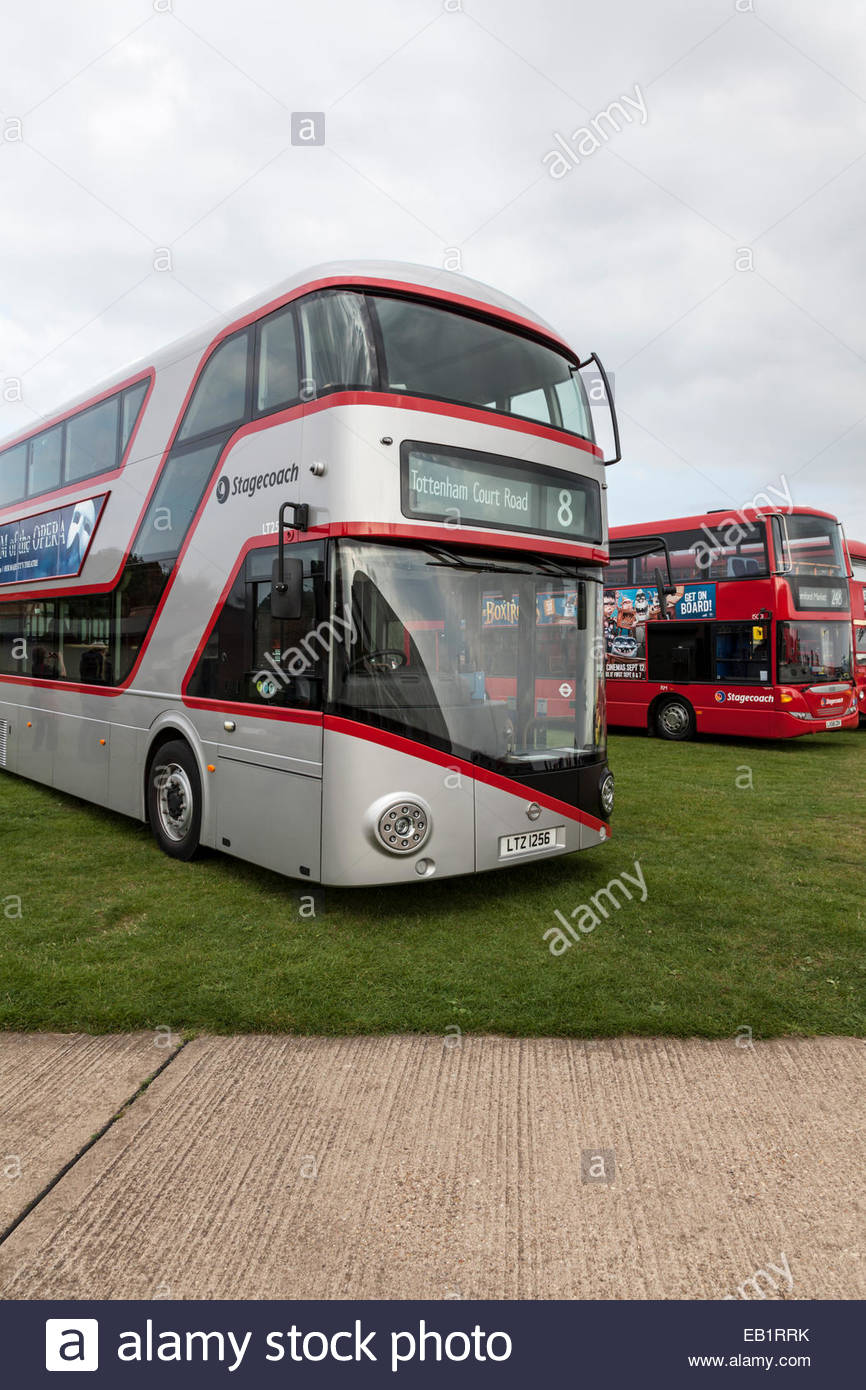 New Routemaster Bus on show at a bus rally - Stock Image